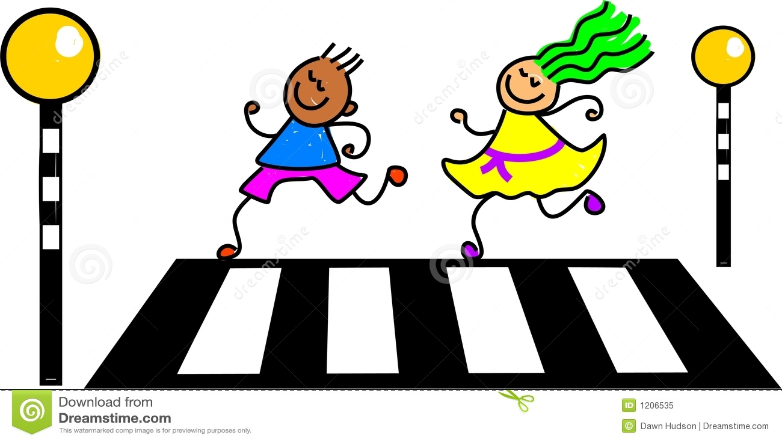 Kids crossing the road at a zebra crossing - toddler art series.