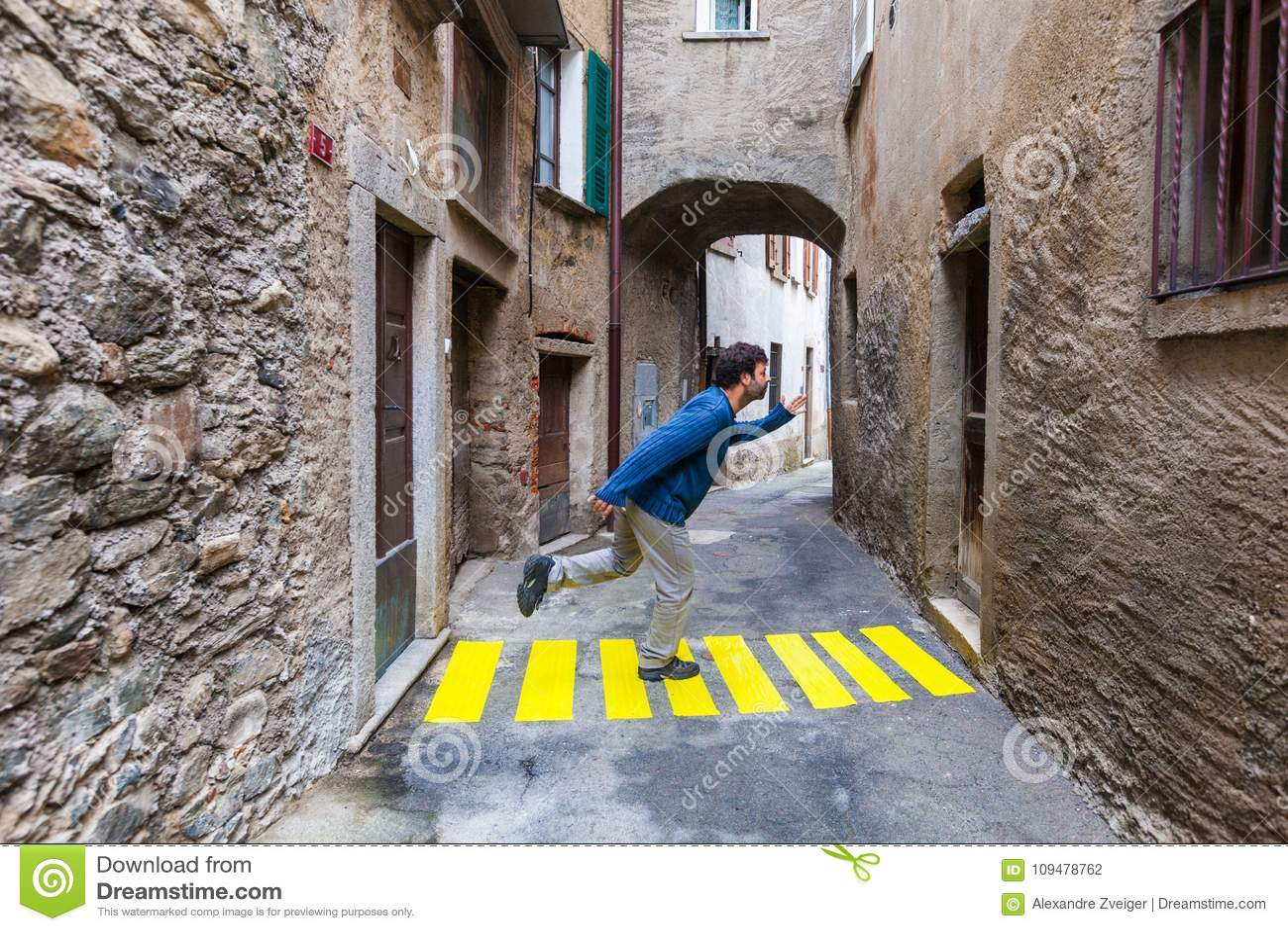 Comic scene. Concept, crosswalks in the alley