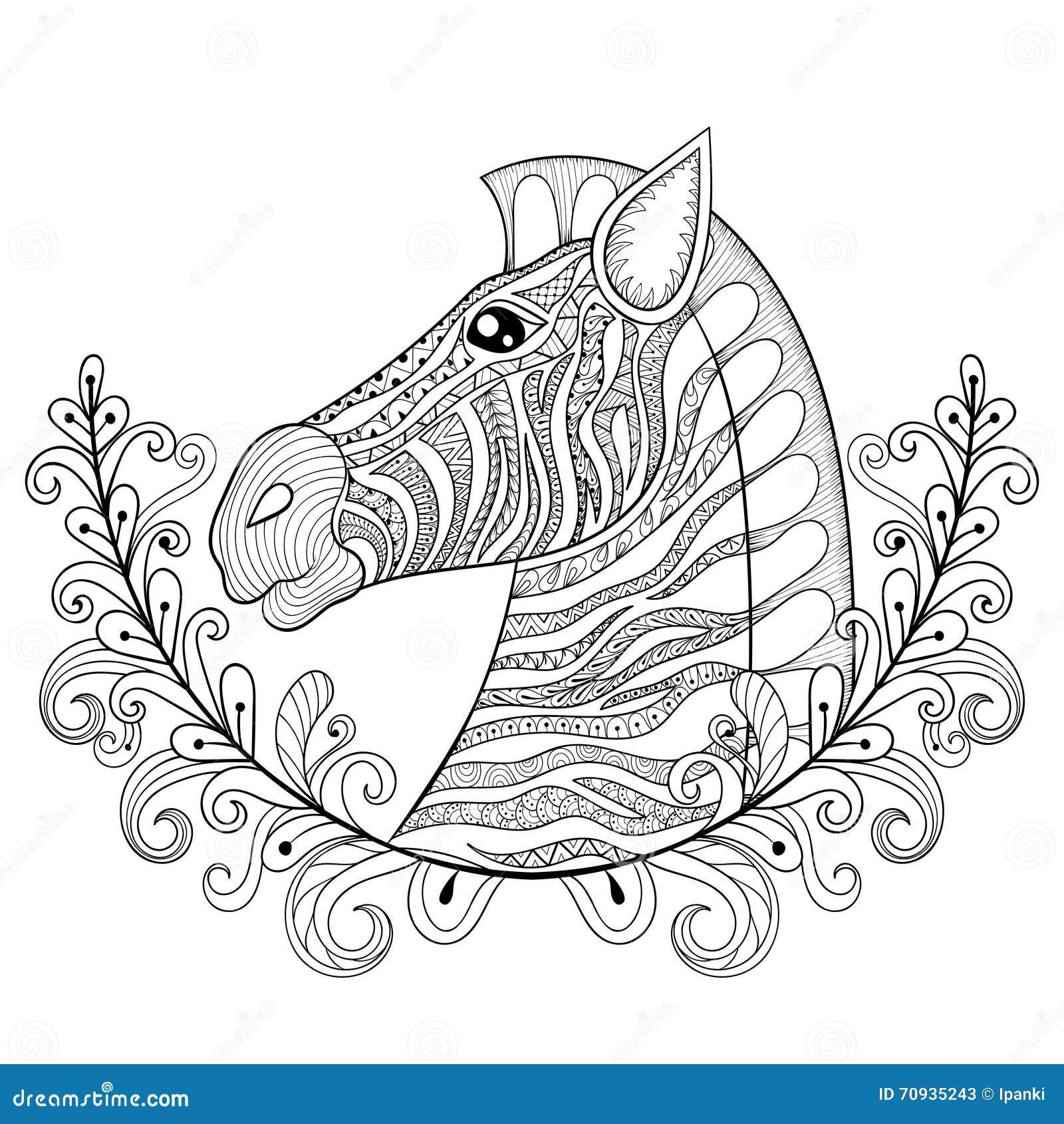zebra in floral frame vector zentangle zebra head illustration