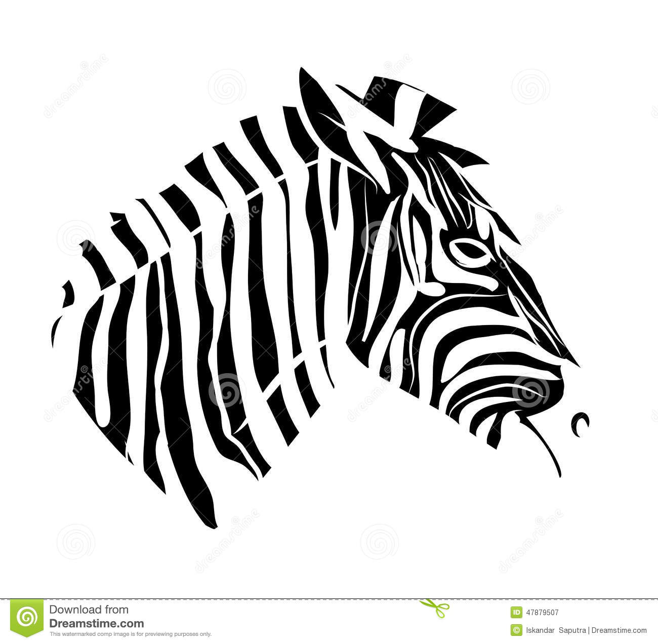 zebra head tattoo stock illustration image 47879507. Black Bedroom Furniture Sets. Home Design Ideas