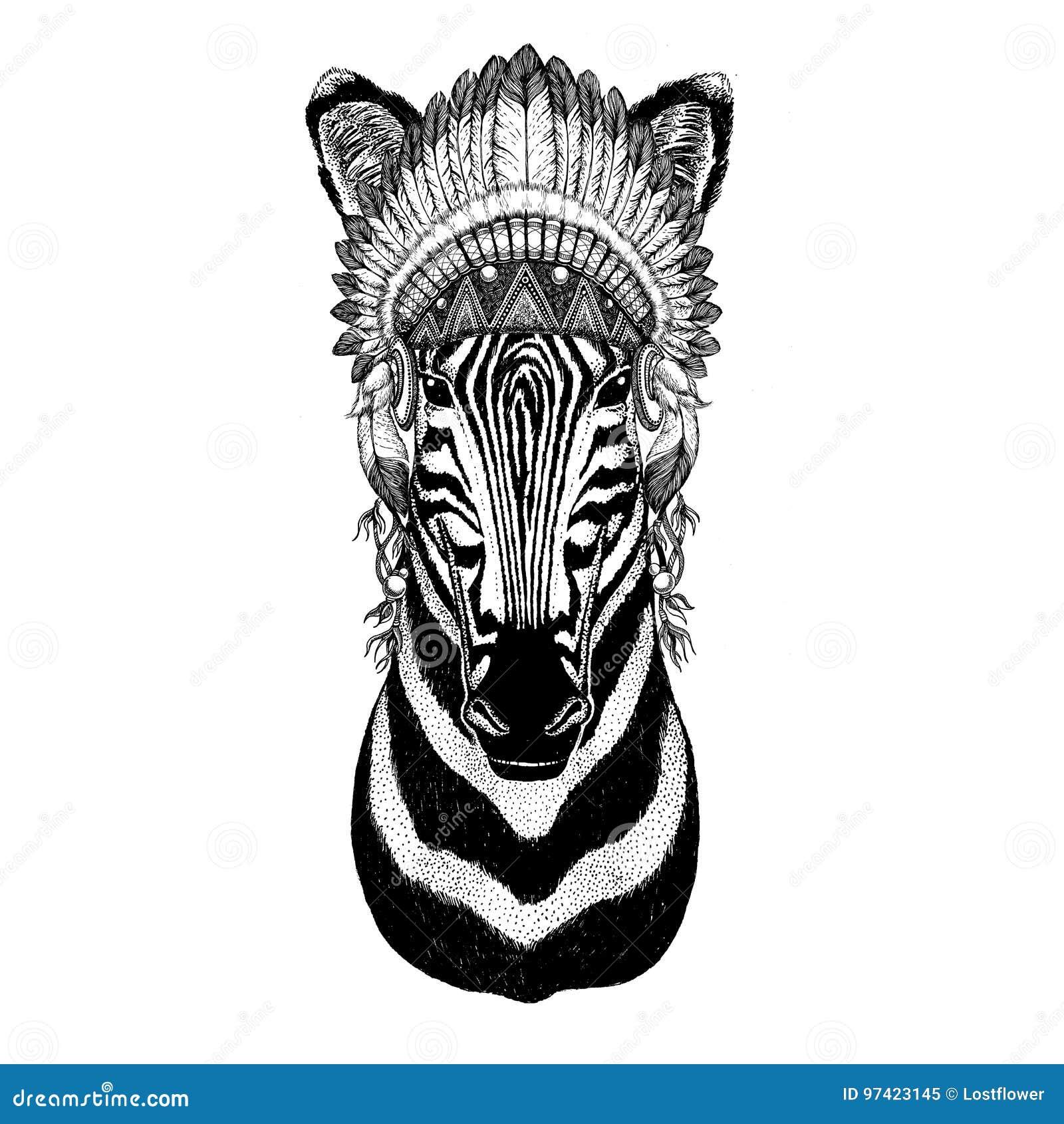 Zebra Horse Wild Animal Wearing Indian Hat Headdress With Feathers Boho Ethnic Image Tribal Illustraton Stock Illustration Illustration Of Tattoo Feather 97423145
