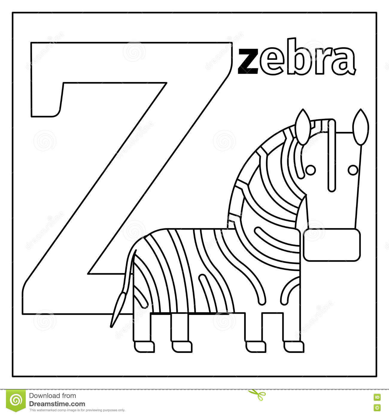 Zebra Letter Z Coloring Page Illustration 79427777 Megapixl