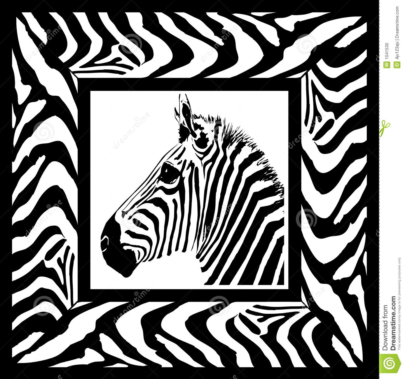zebra pattern frame stock photo