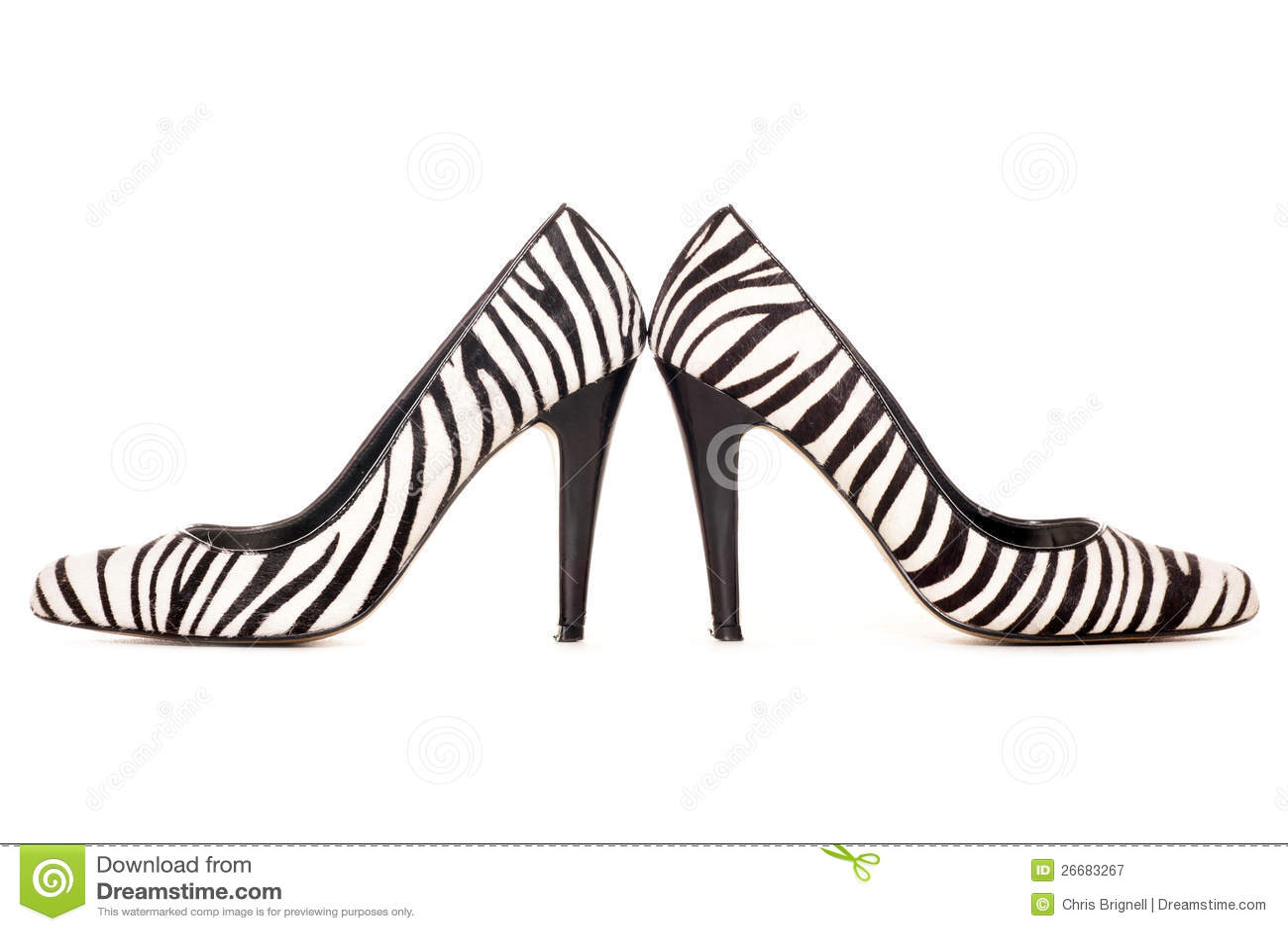 Zebra Pattern High Heel Shoes Royalty Free Stock