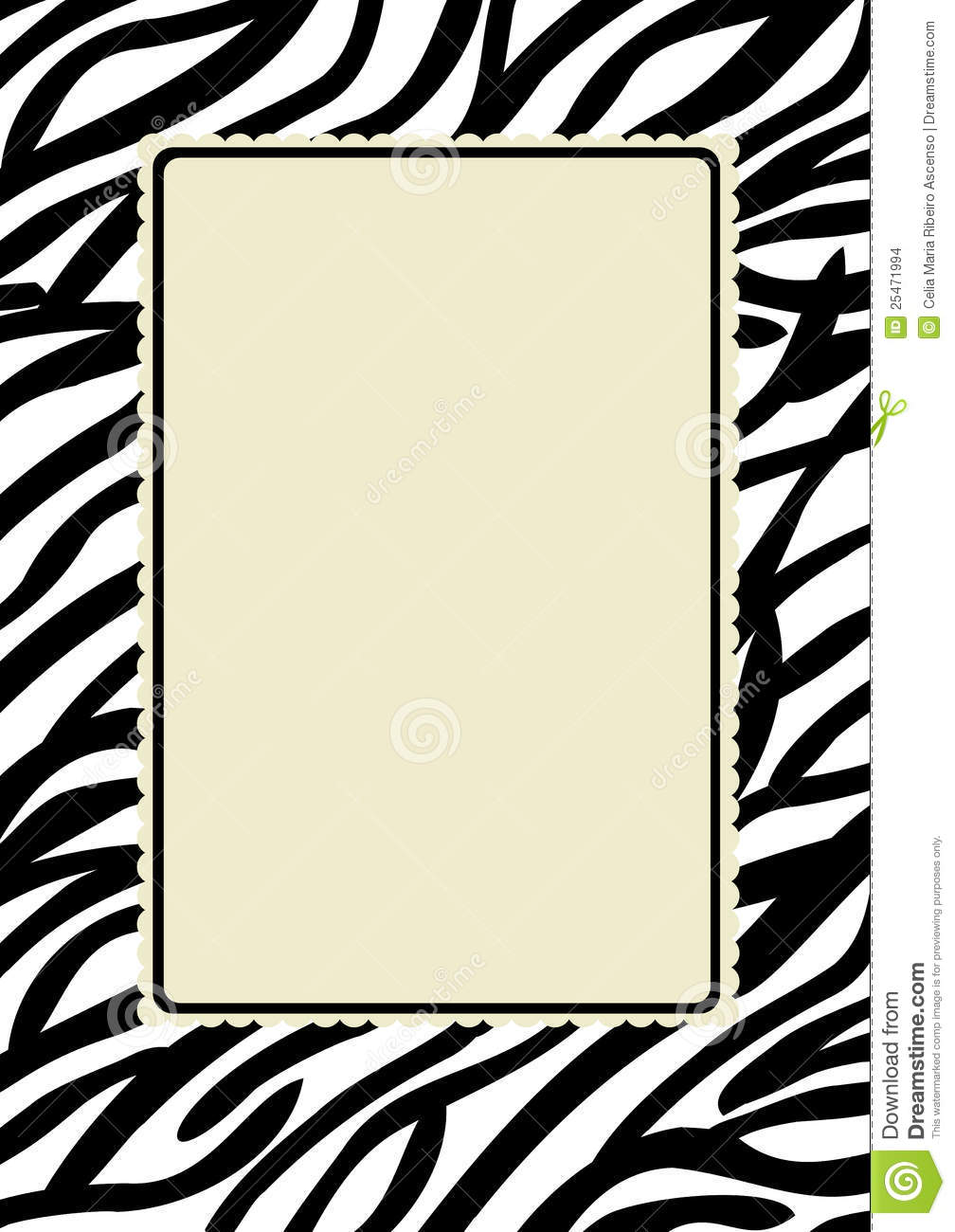 zebra print frame stock illustration image of