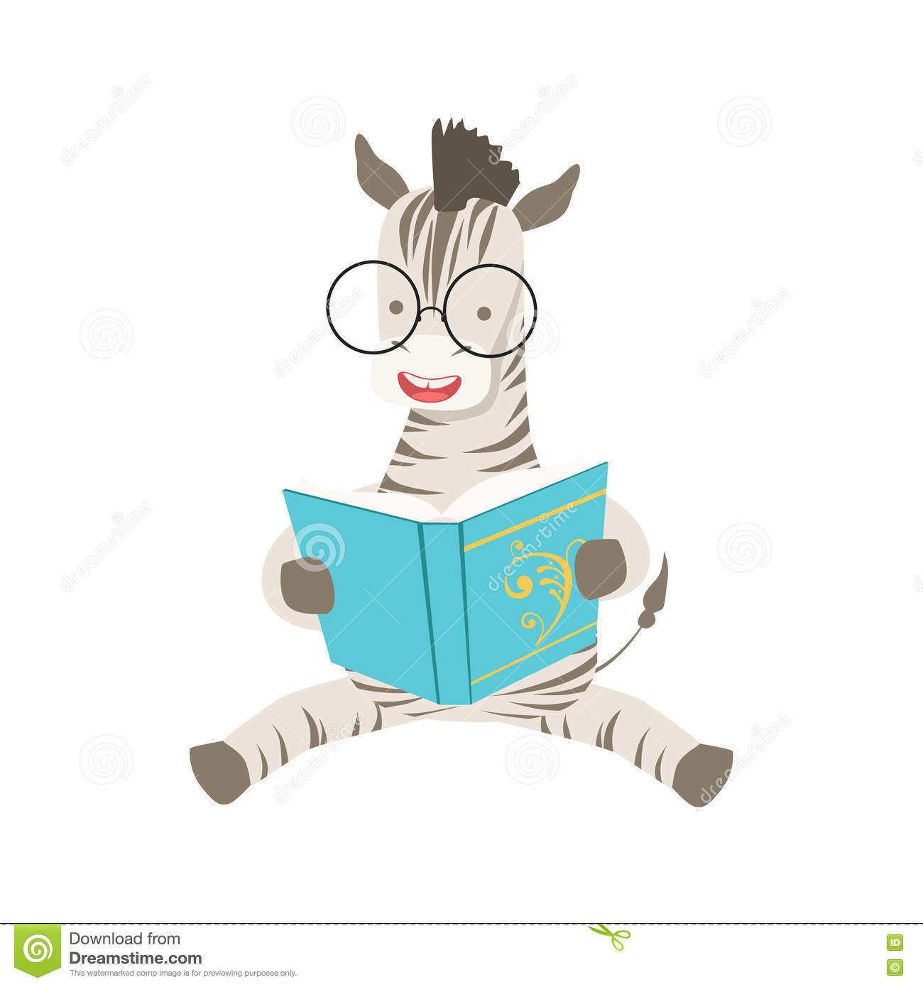 zebra smiling bookworm zoo character wearing glasses and reading a