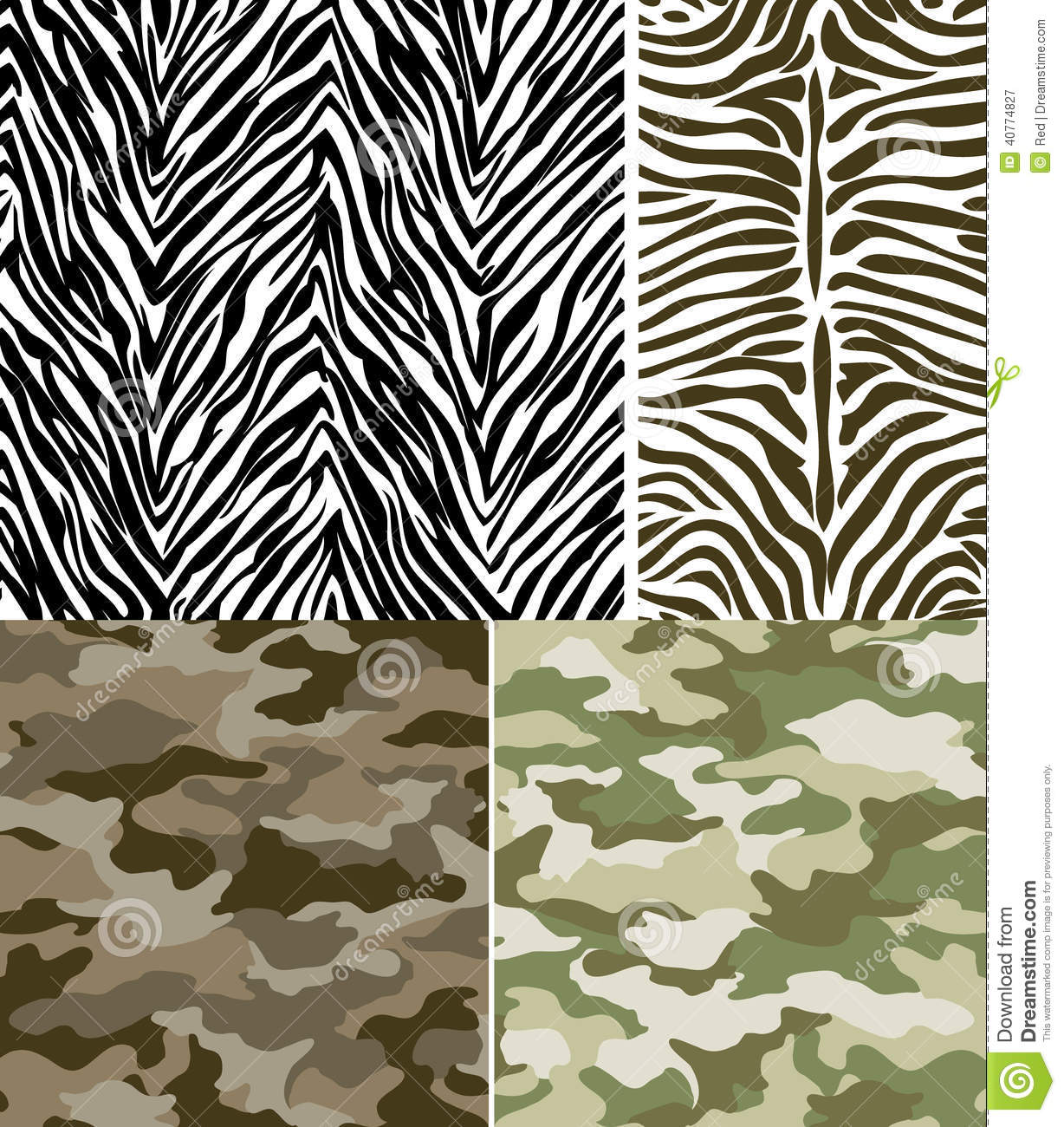 Zebra Stripes And Camouflage Pattern Set Stock Vector