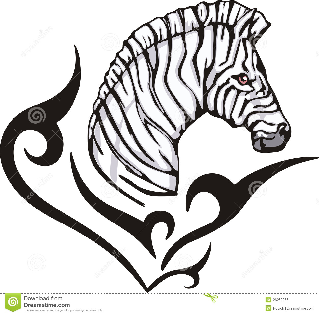 zebra tattoo royalty free stock photo image 26259965. Black Bedroom Furniture Sets. Home Design Ideas