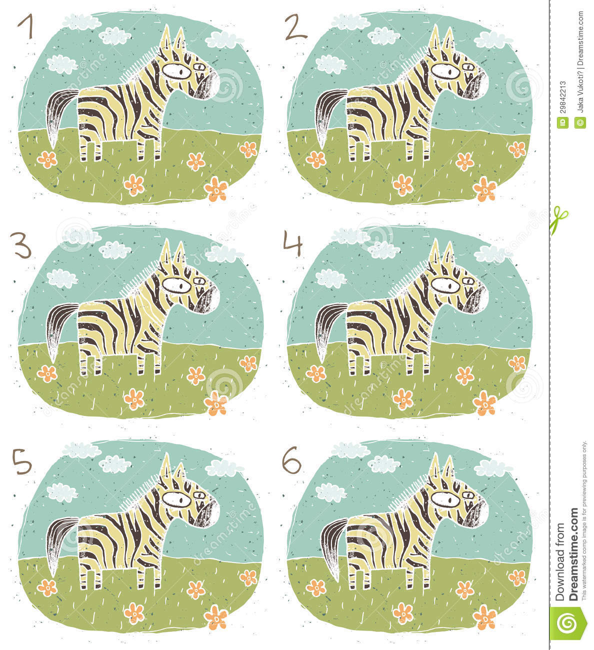 Zebra Visual Game for children. Illustration is in eps8 mode! Task ...