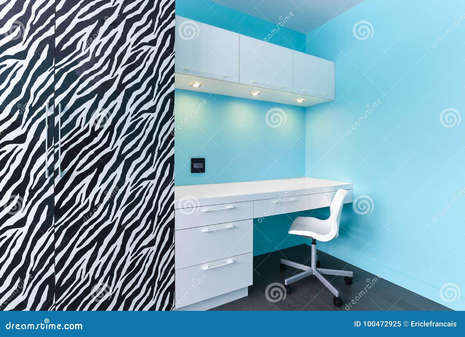 Zebra And White Cabinets Study Desk