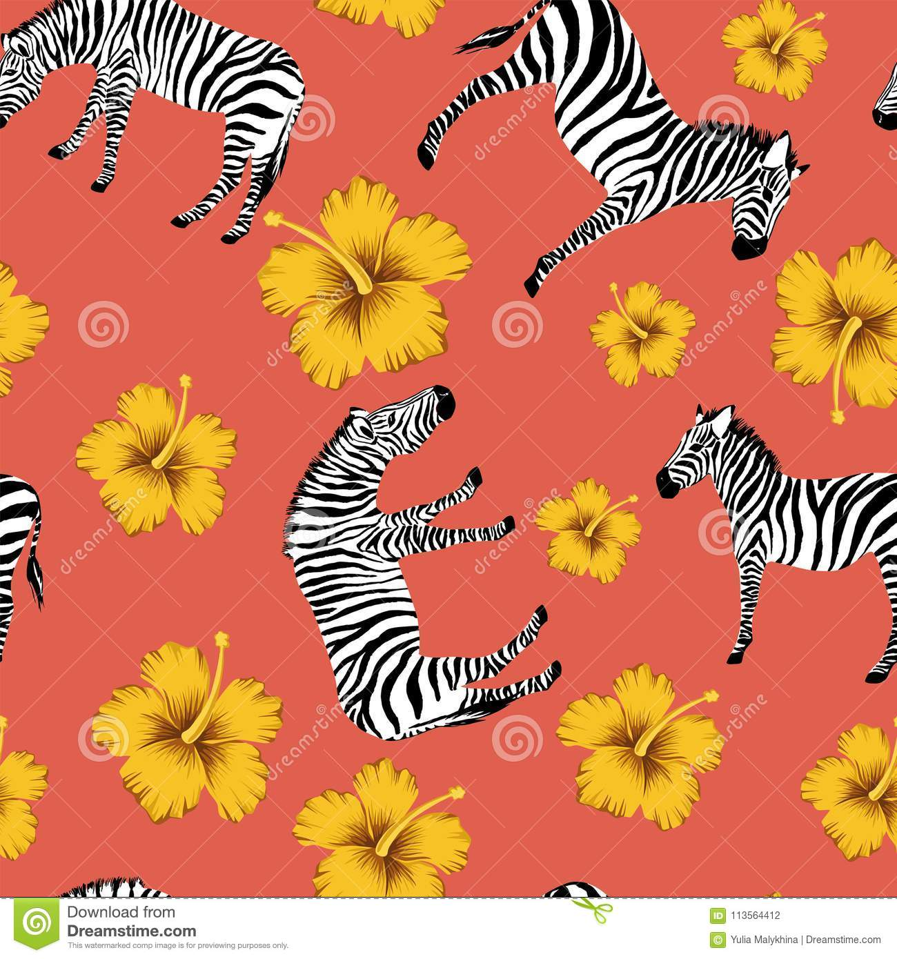 Zebra Yellow Hibiscus Red Background Stock Vector Illustration Of