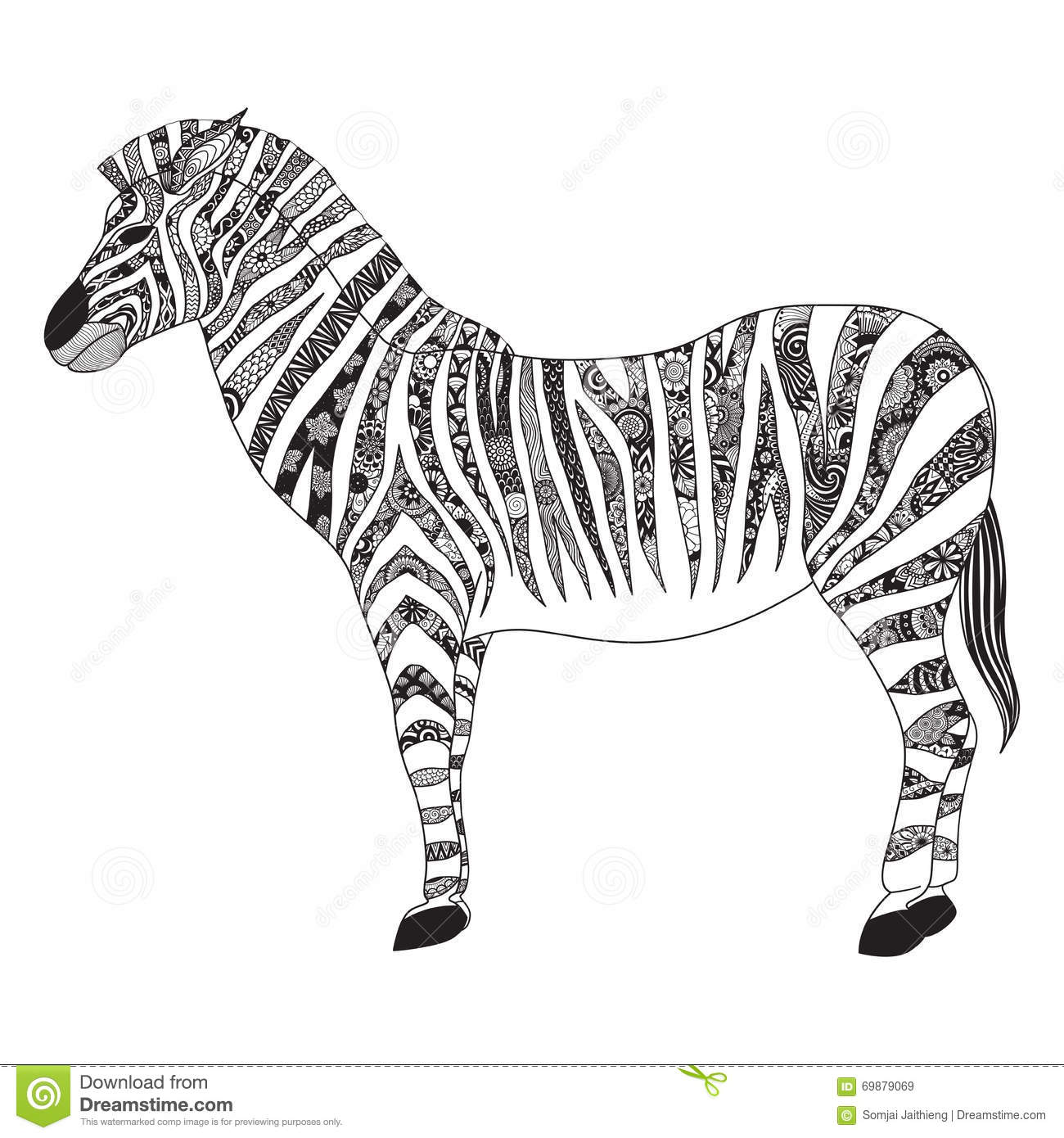 Zebra Zentangle Stylized For T- Shirt Design, Sign, Poster, Coloring ...