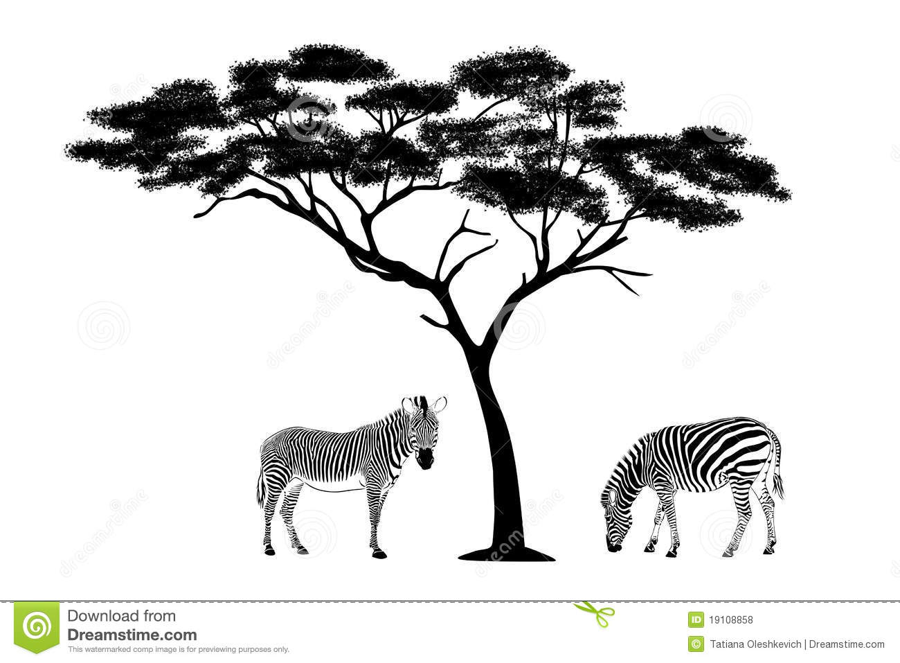 Zebras Under The Tree Illustration Stock Illustration - Illustration
