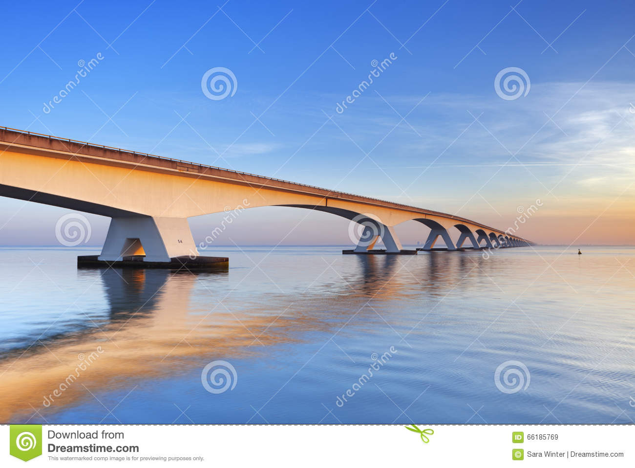 The Zeeland Bridge in Zeeland, The Netherlands at sunrise