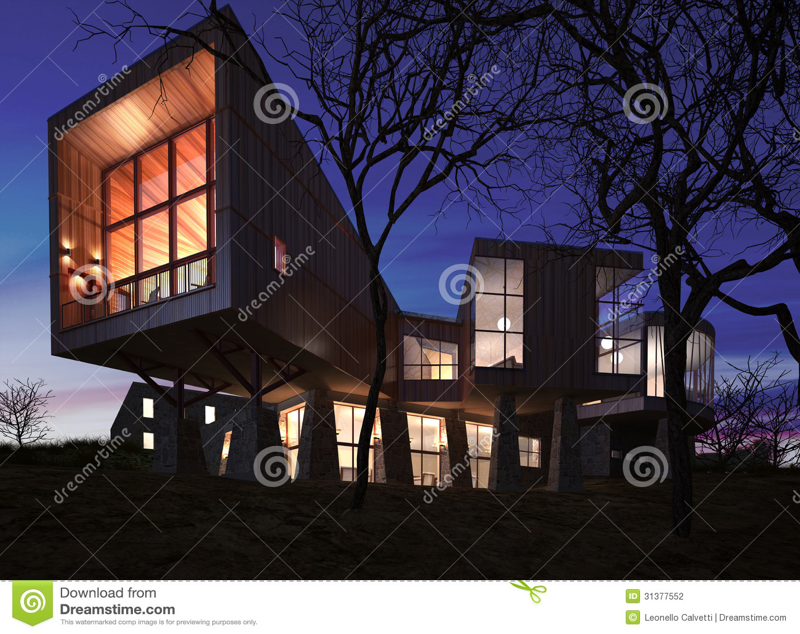 Zeer modern modieus die huis van hout steen en glas wordt gemaakt stock illustratie - Zeer moderne woning ...