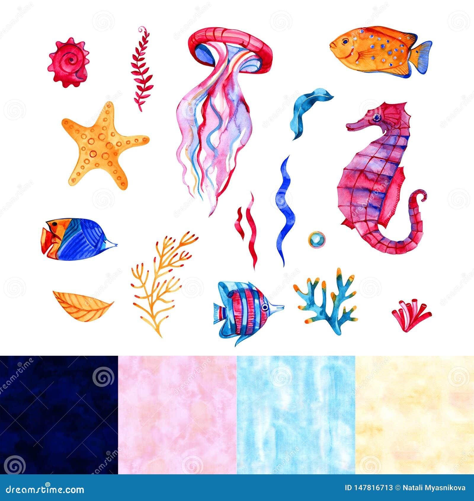 Zeevaartelementen, het overzeese leven, vissen, seahorse, zeester, koraal, algen Waterverfillustratie, op wit wordt ge?soleerd da