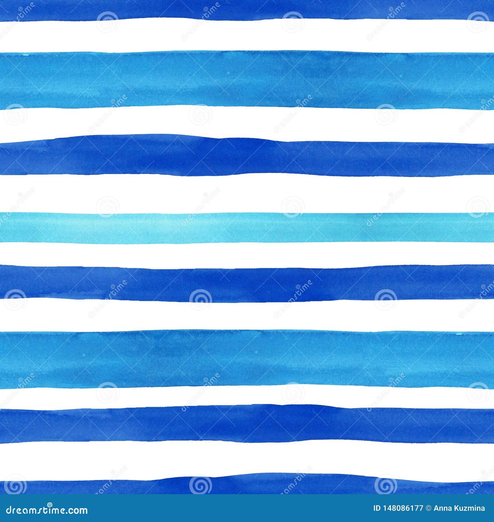 Zeevaartstijl naadloos patroon met waterverf blauwe horizontale strepen op witte achtergrond De zomerhand getrokken textuur