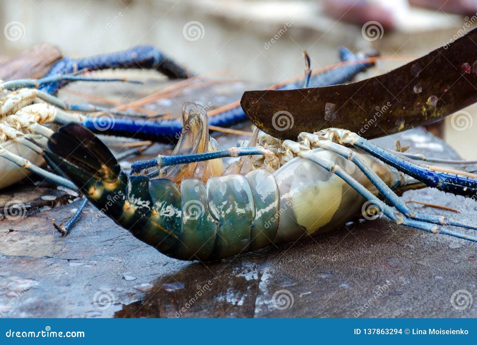 Zeevruchtenbesnoeiingen - het koken langoest Snijd zeekreeft in een markt van straatvissen in Sri Lanka