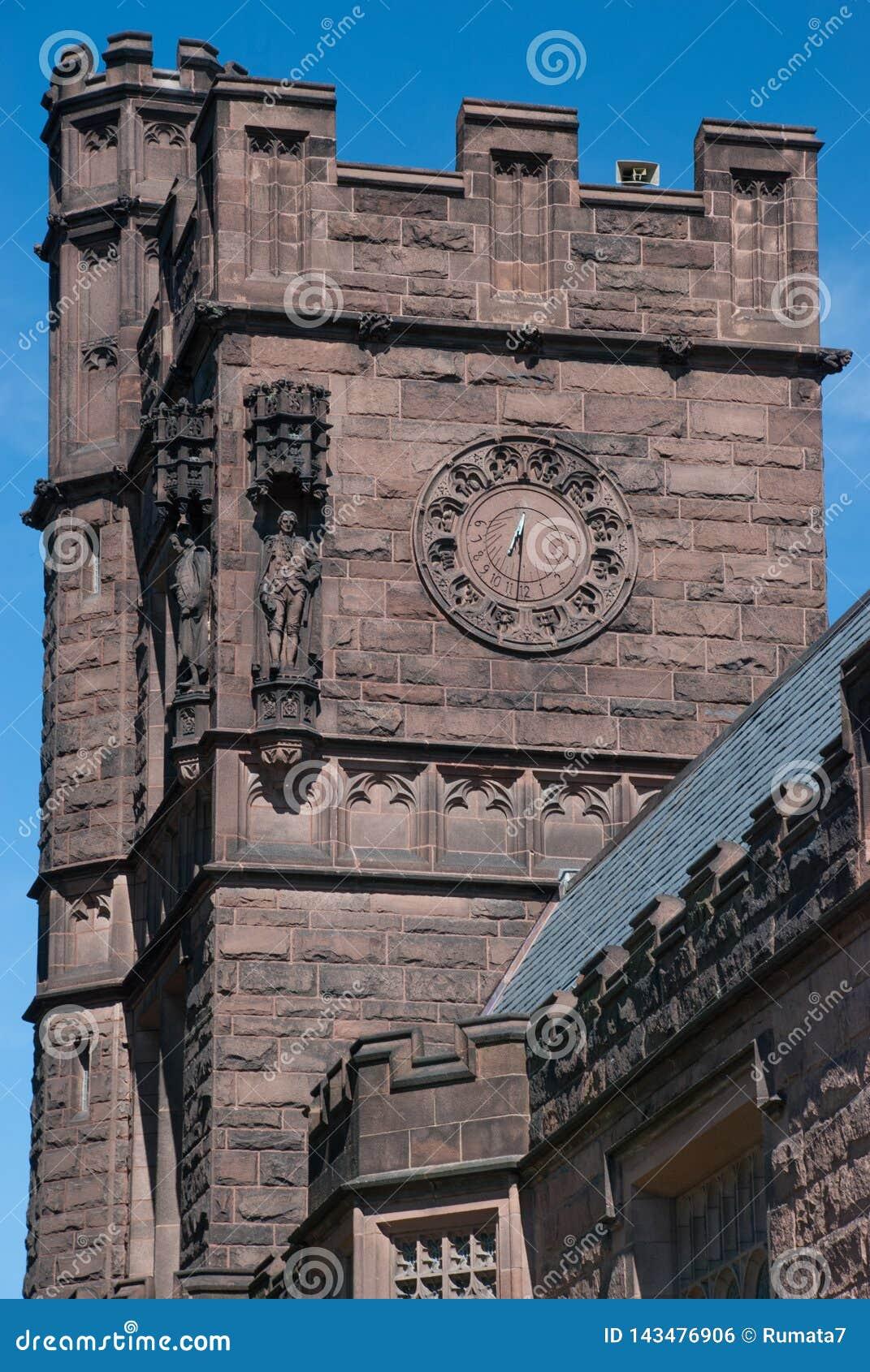 Zegar na zegarka wierza przy uniwersytet princeton