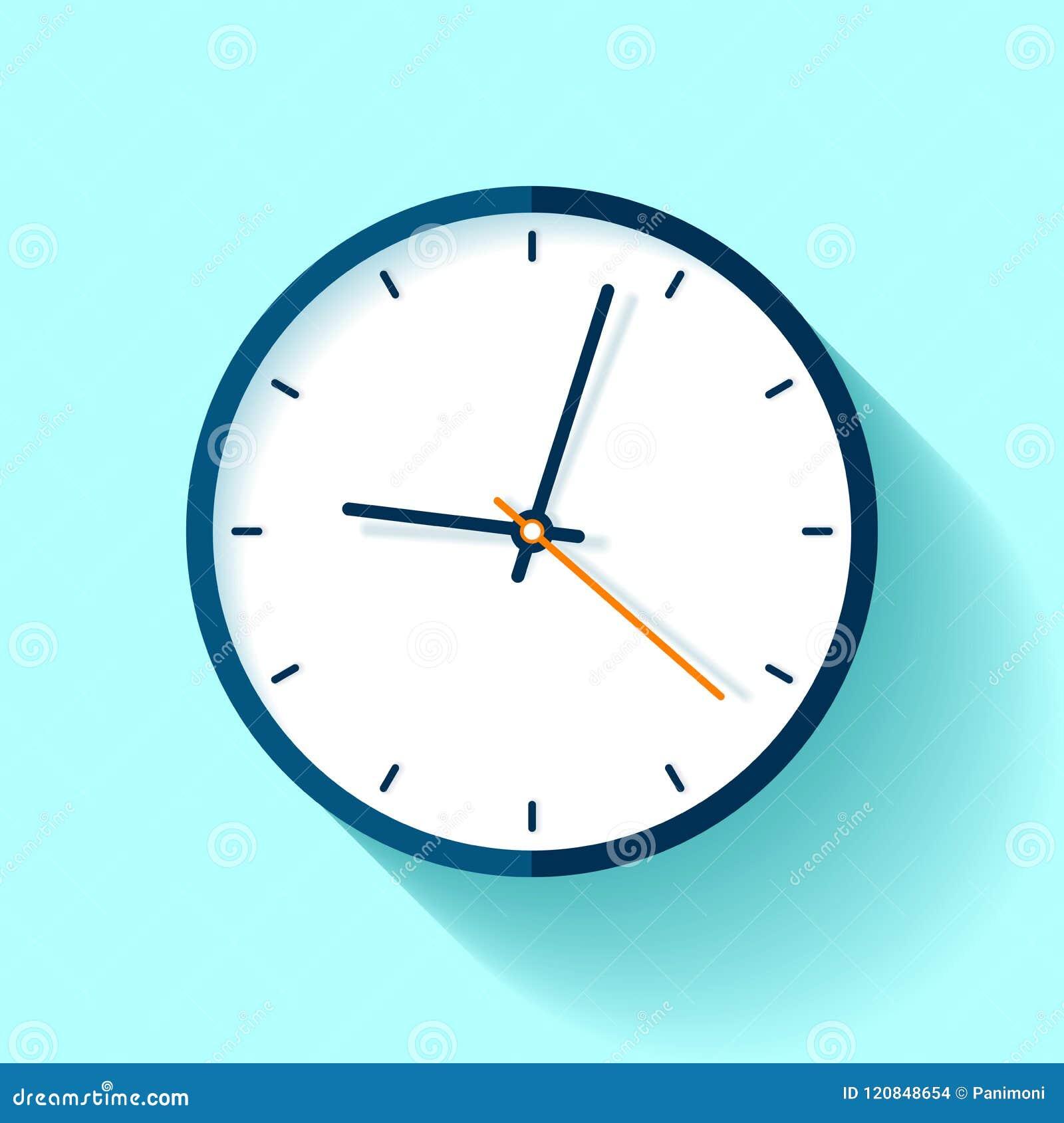 Zegarowa ikona w mieszkanie stylu, round zegar na błękitnym tle Prosty zegarek Wektorowy projekta element dla ciebie biznesowi pr