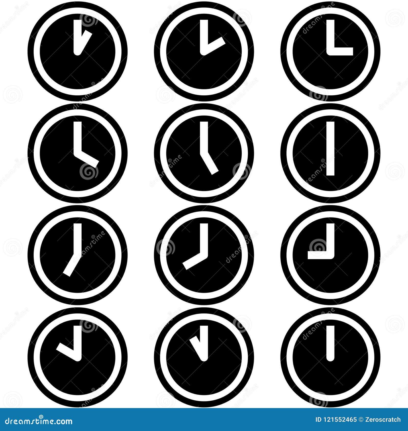 Zegary pokazuje różne czas godzin symboli/lów ikony podpisują logów prosty czarny i biały barwiony set 2