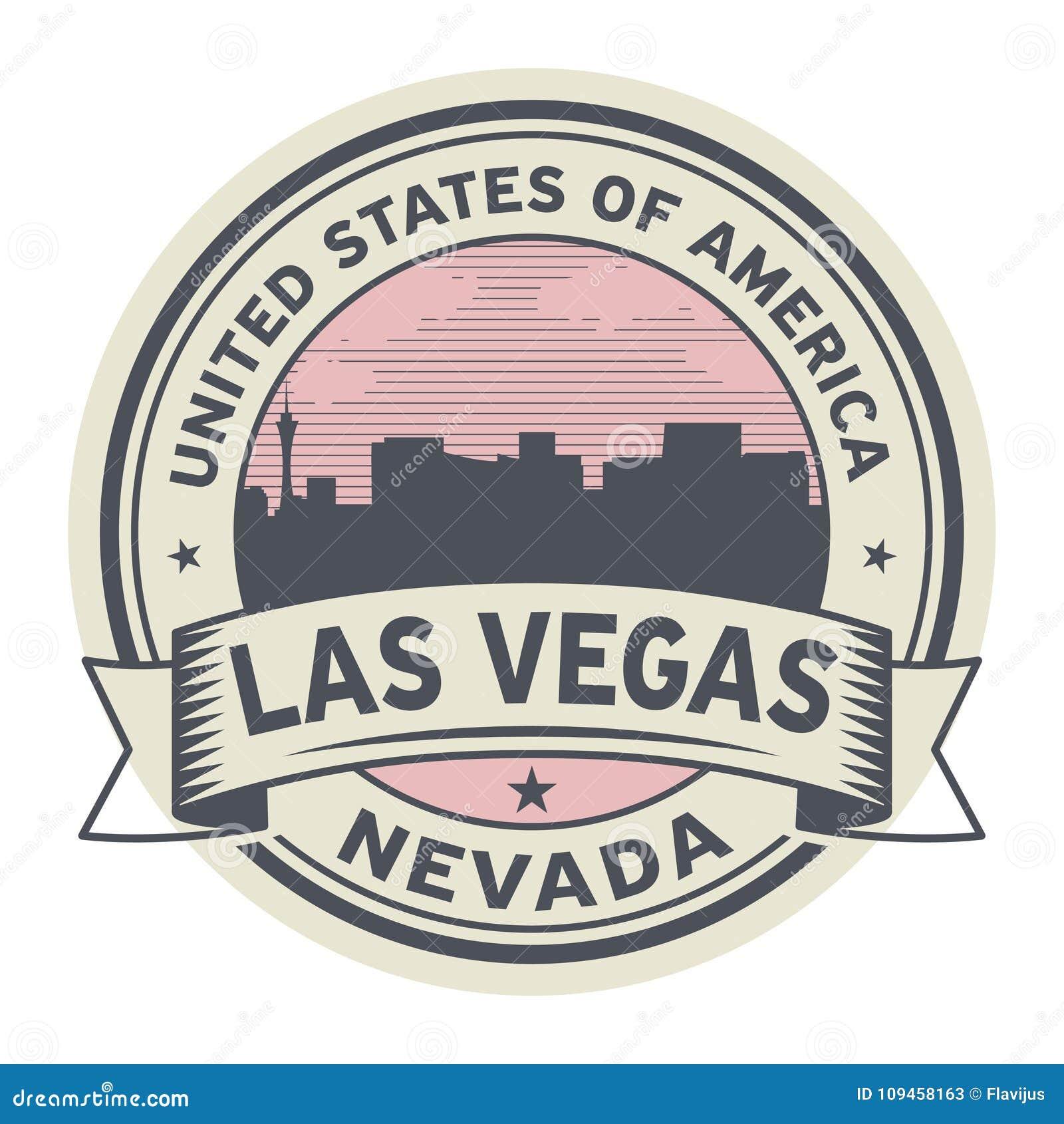 Zegel of etiket met naam van Nevada, Las Vegas