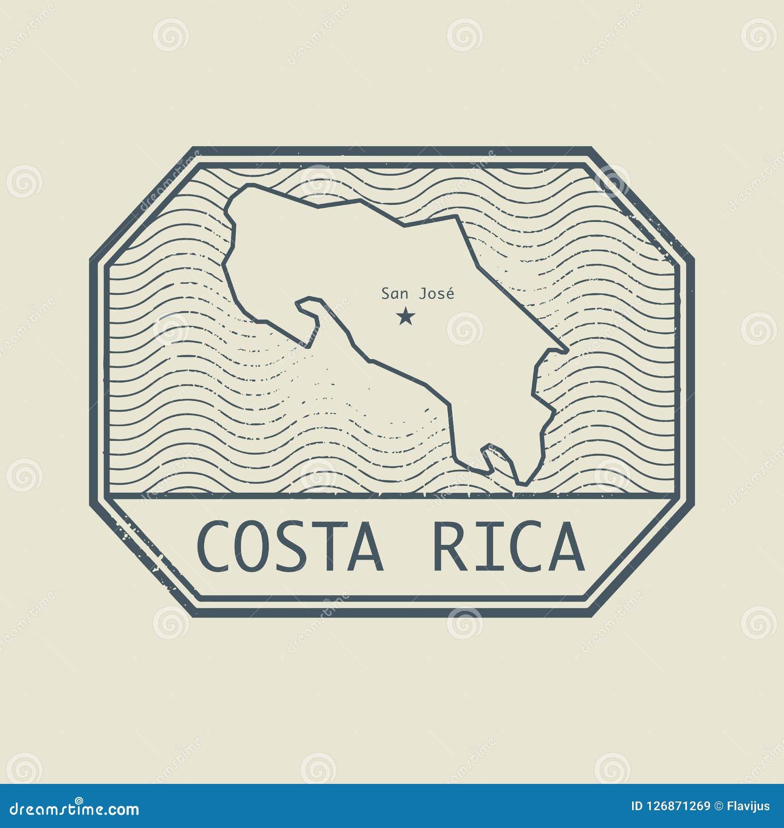 Zegel met de naam en de kaart van Costa Rica