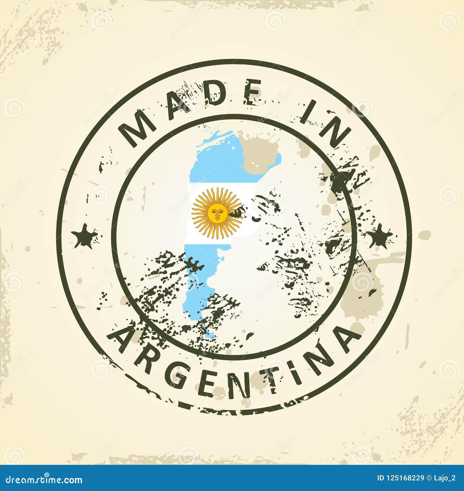 Zegel met kaartvlag van Argentinië