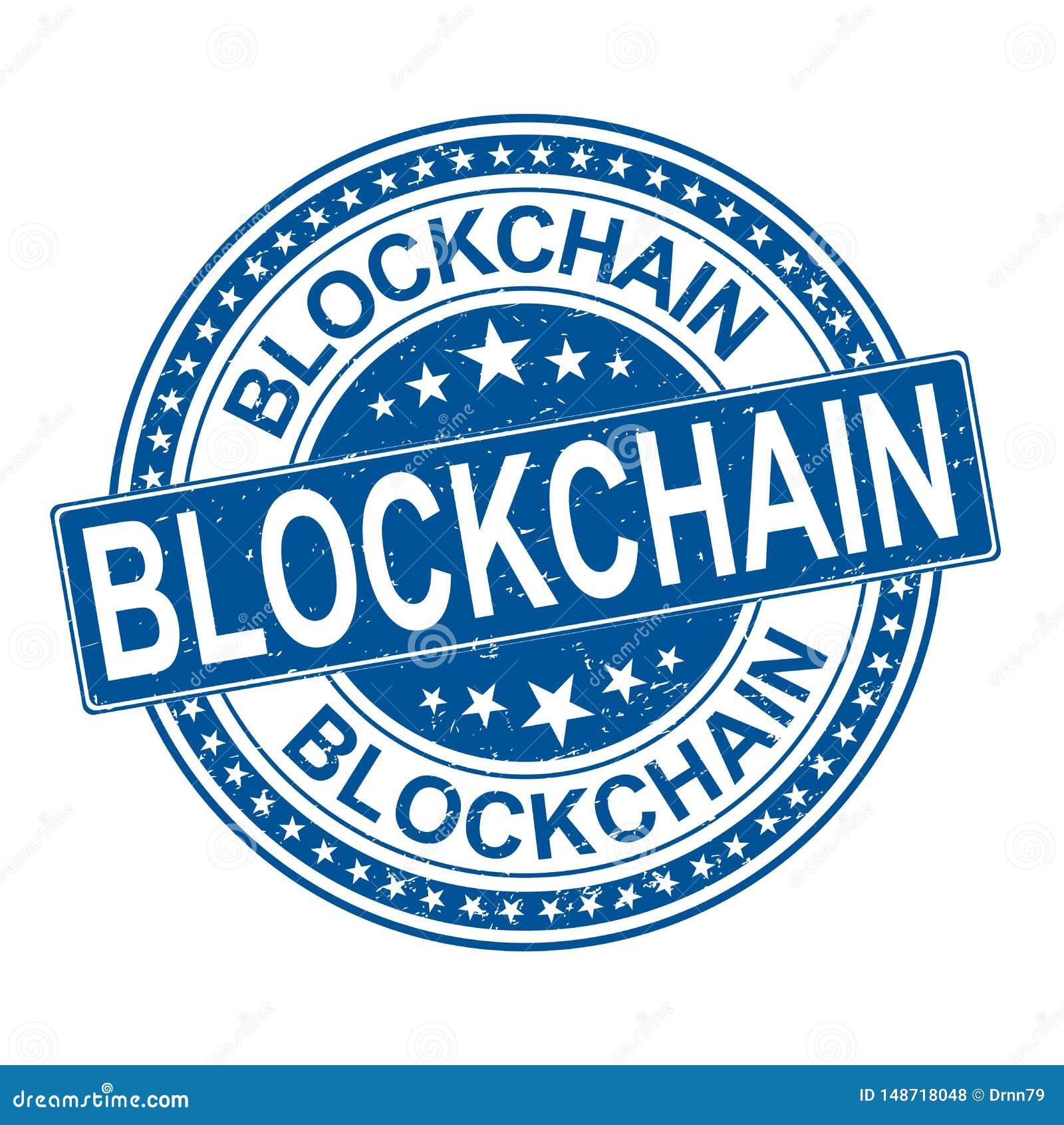 Zegel van het Blockchain de blauwe ronde grungy rubberweb