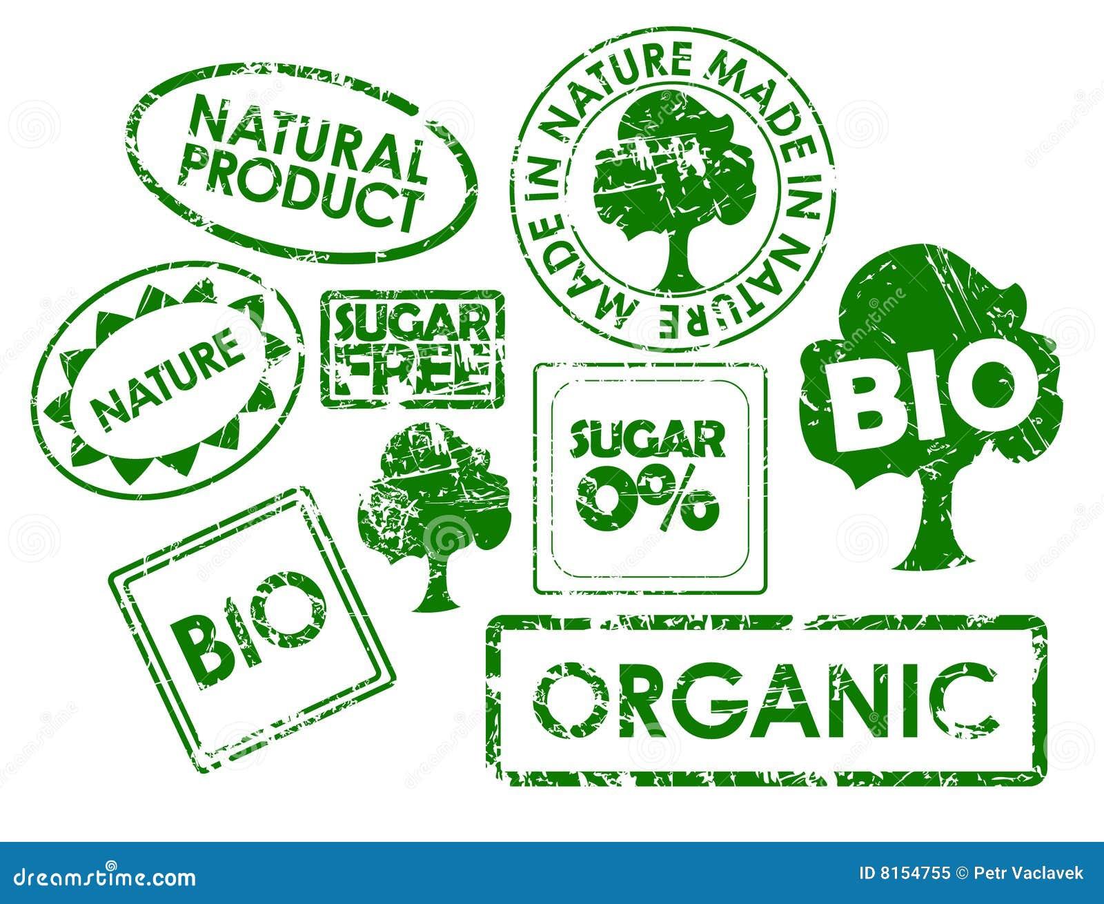 Zegels voor organisch gezond voedsel