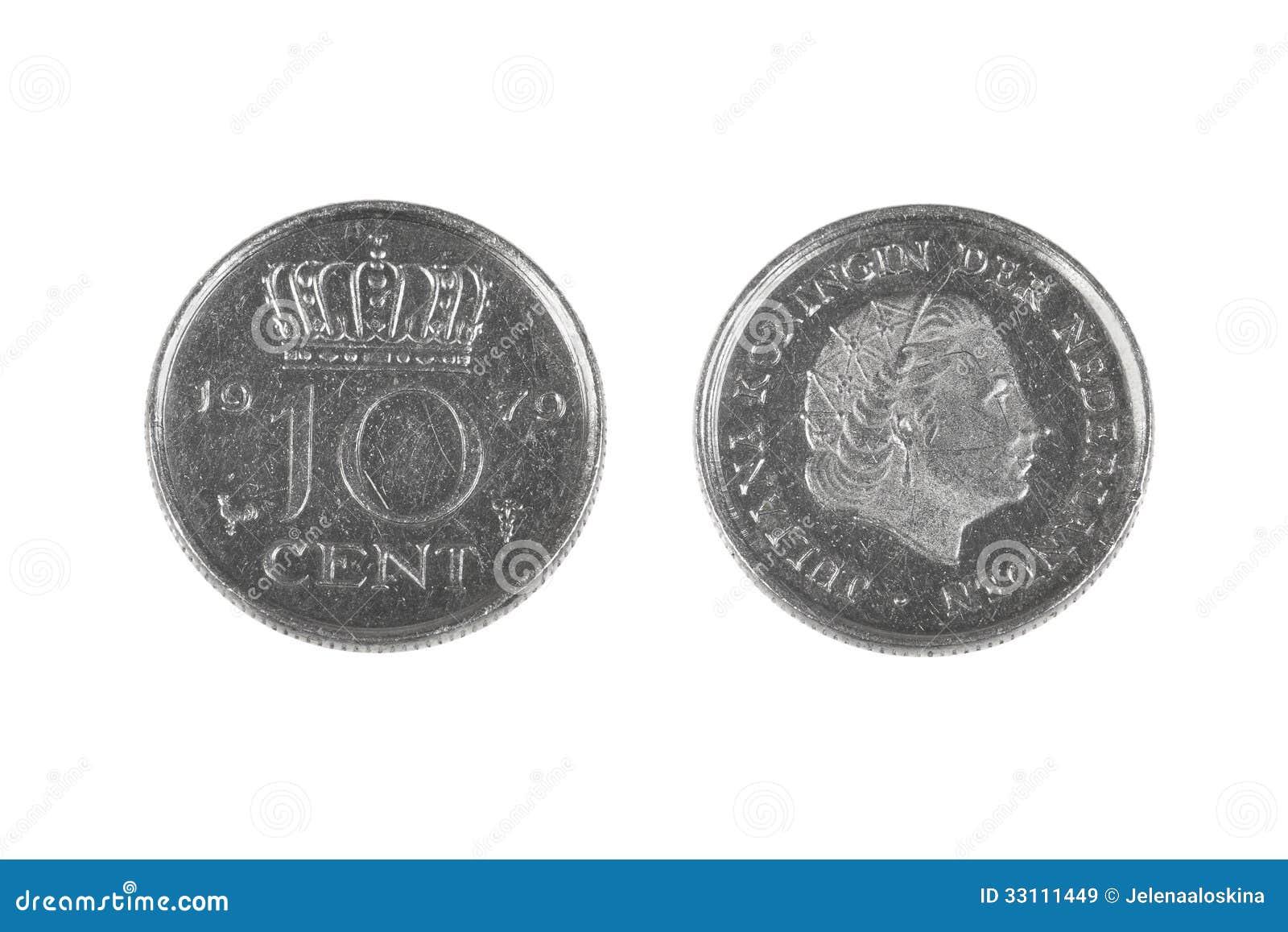 Zehn Cent Münze Von Den Niederlanden Stockbild Bild Von Geschäft