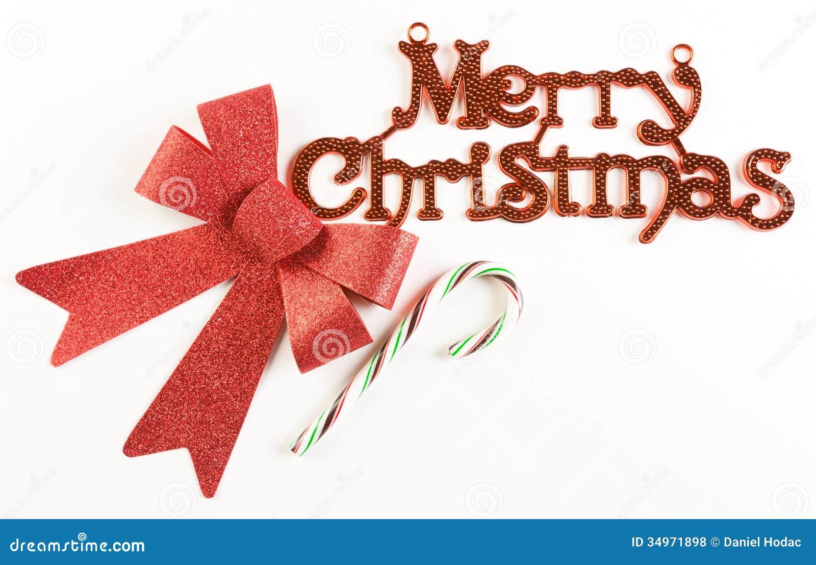Zeichen Der Frohen Weihnachten Mit Rotem Bogen Und Zuckerstange ...