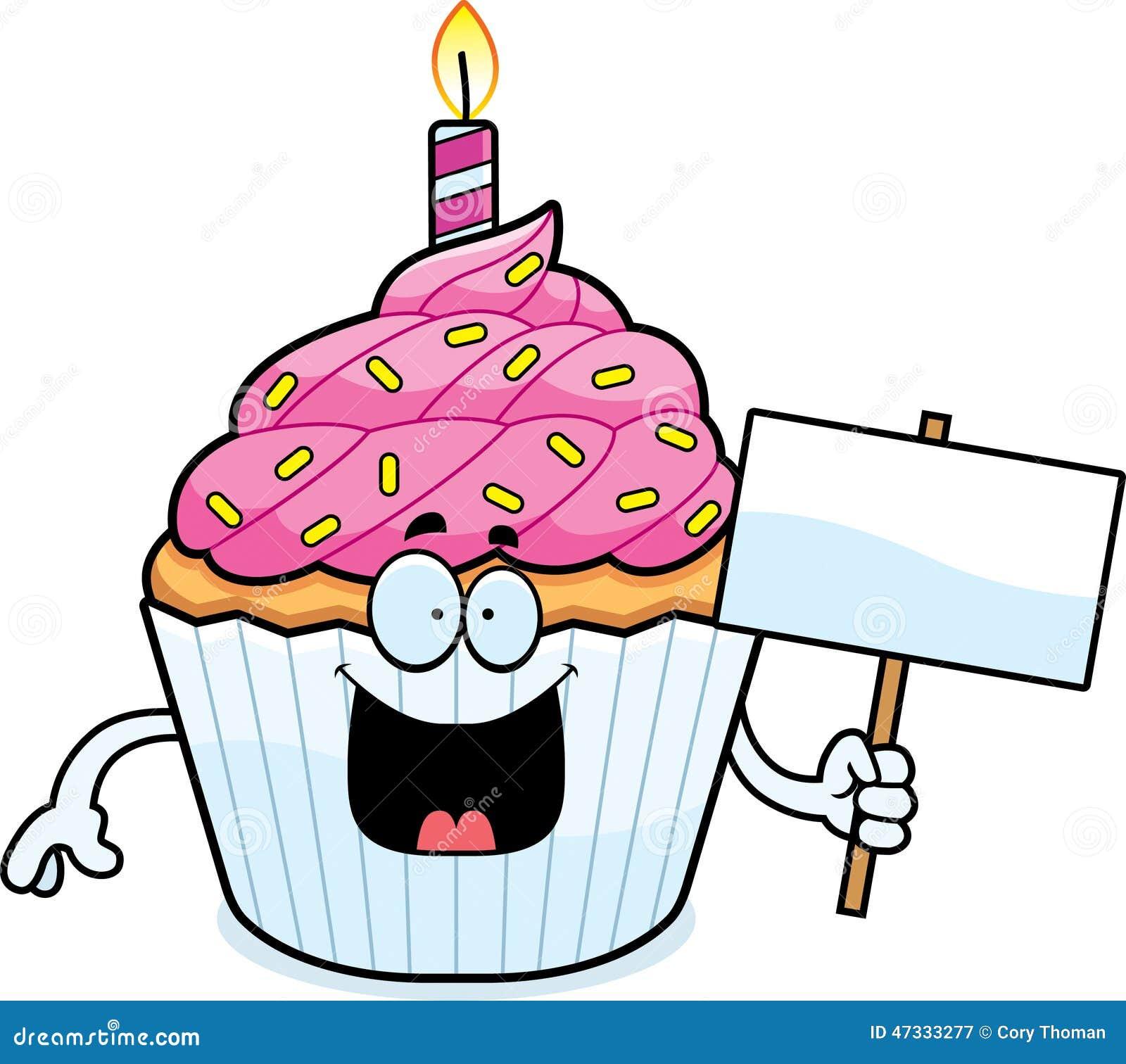 Zeichen Des Karikatur Geburtstags Kleinen Kuchens Vektor Abbildung