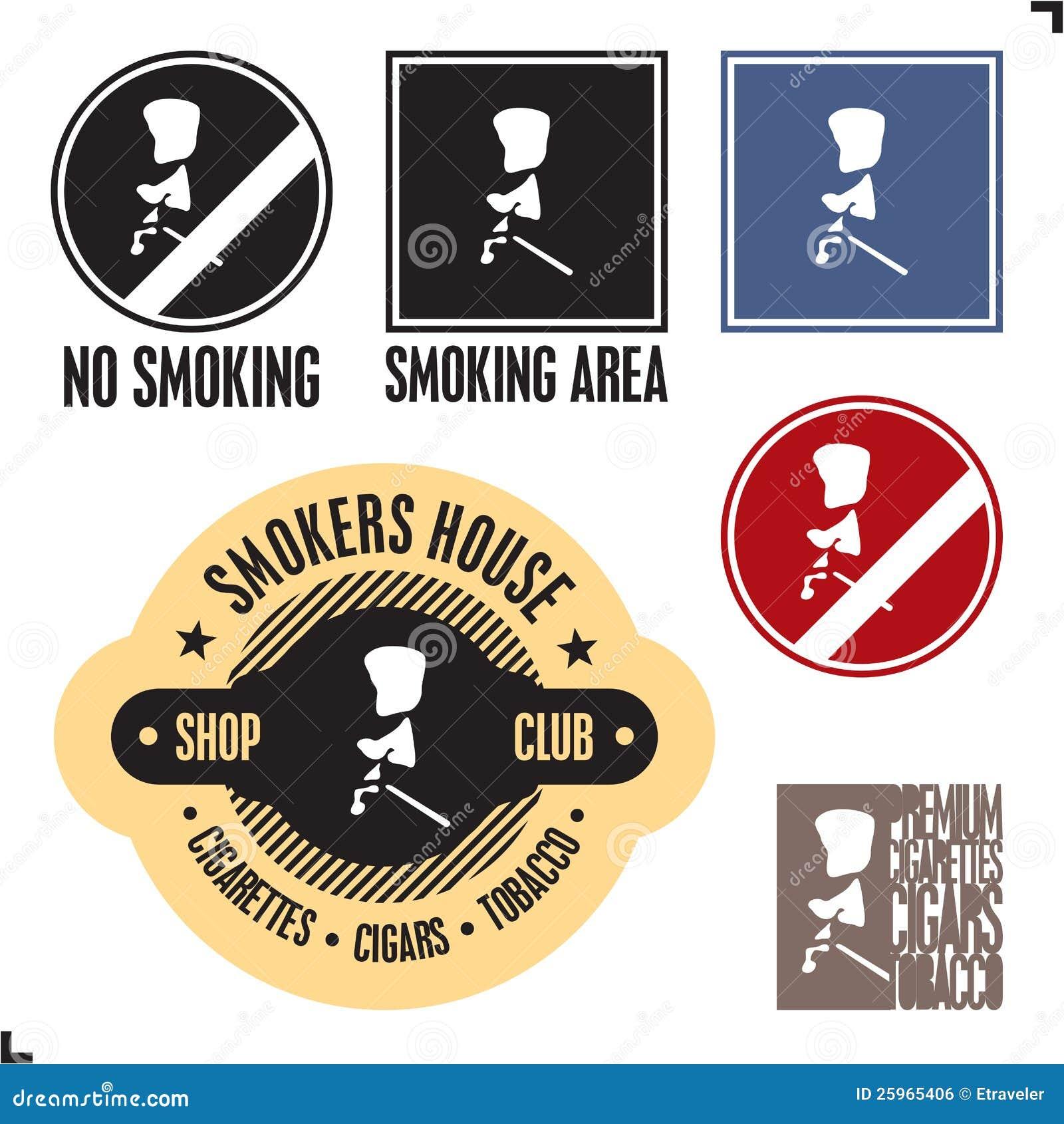 Zeichen des rauchenden Bereiches. Nichtraucherzeichen.
