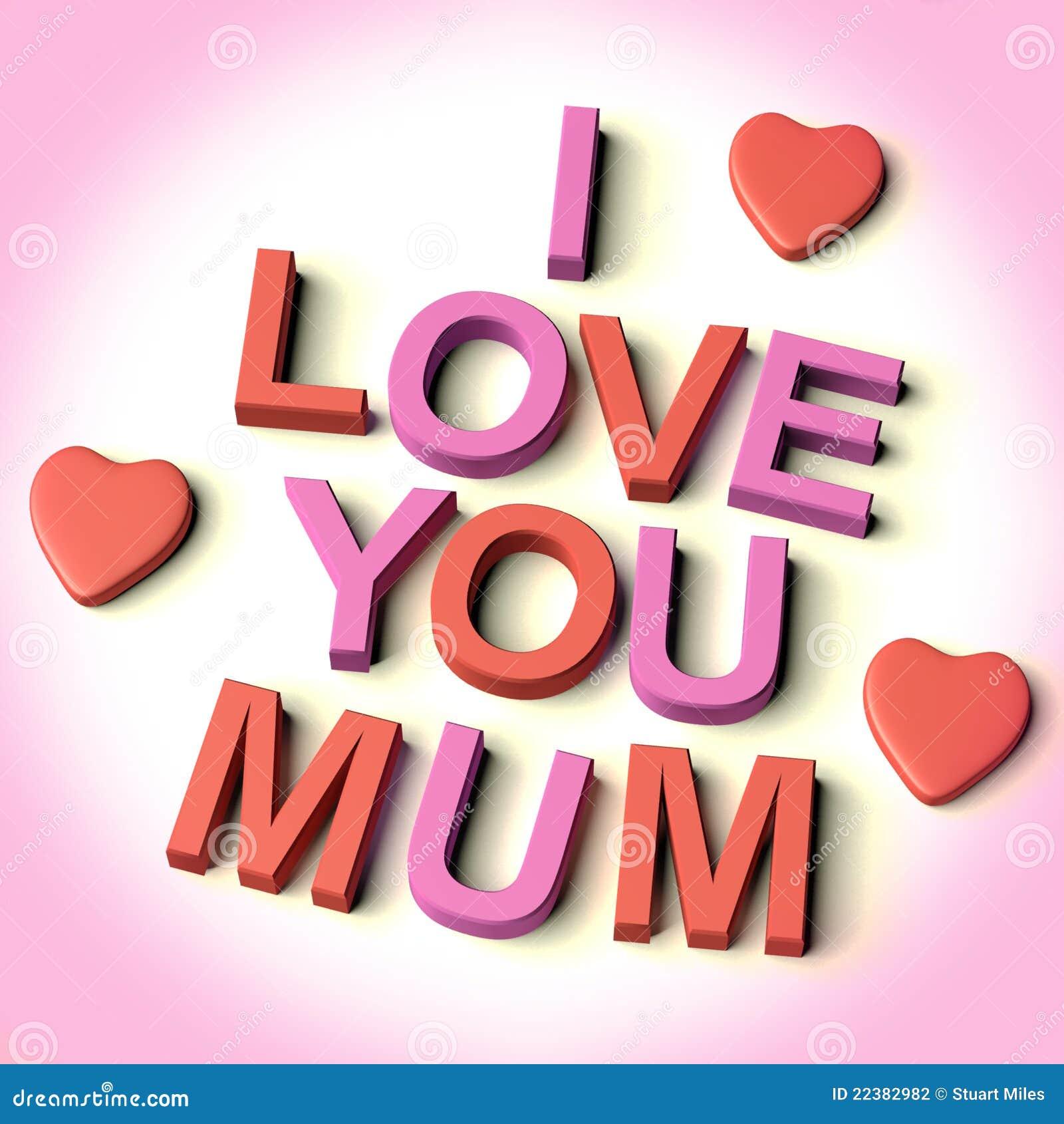 Rote und rosafarbene zeichen die ich liebe dich mama mit inneren als