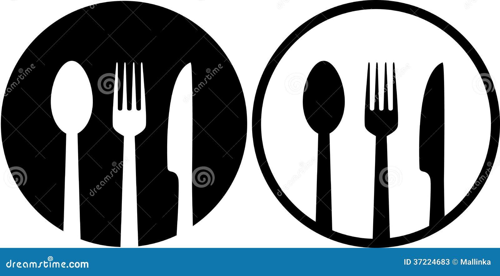 Zeichen Mit Löffel, Gabel Und Messer Vektor Abbildung