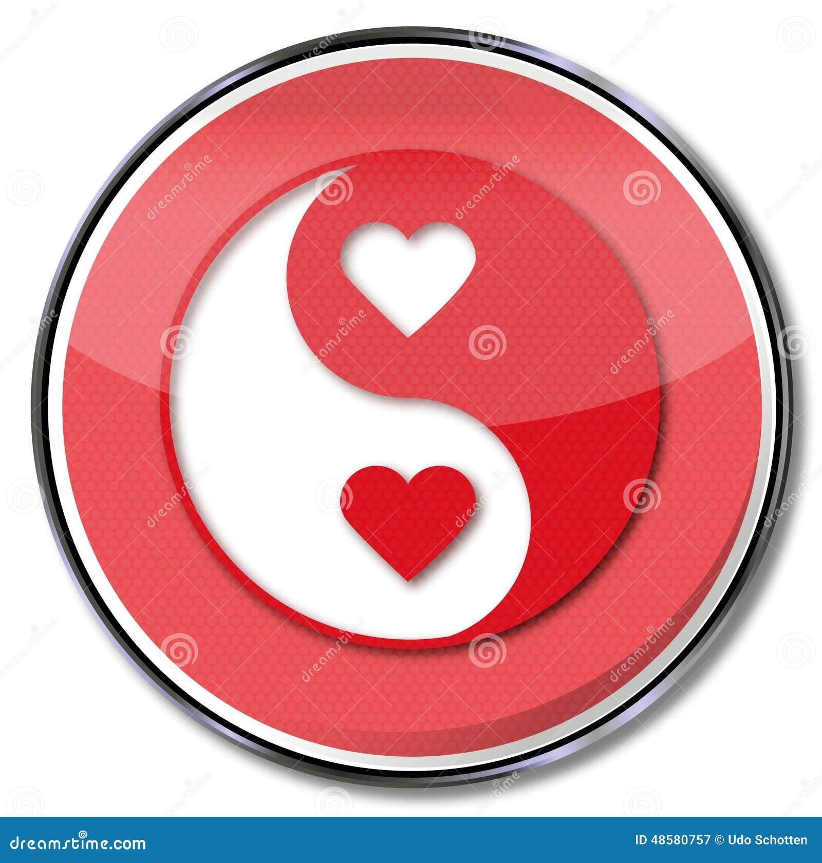 zeichen yin und yang der liebe stockbild bild 48580757. Black Bedroom Furniture Sets. Home Design Ideas