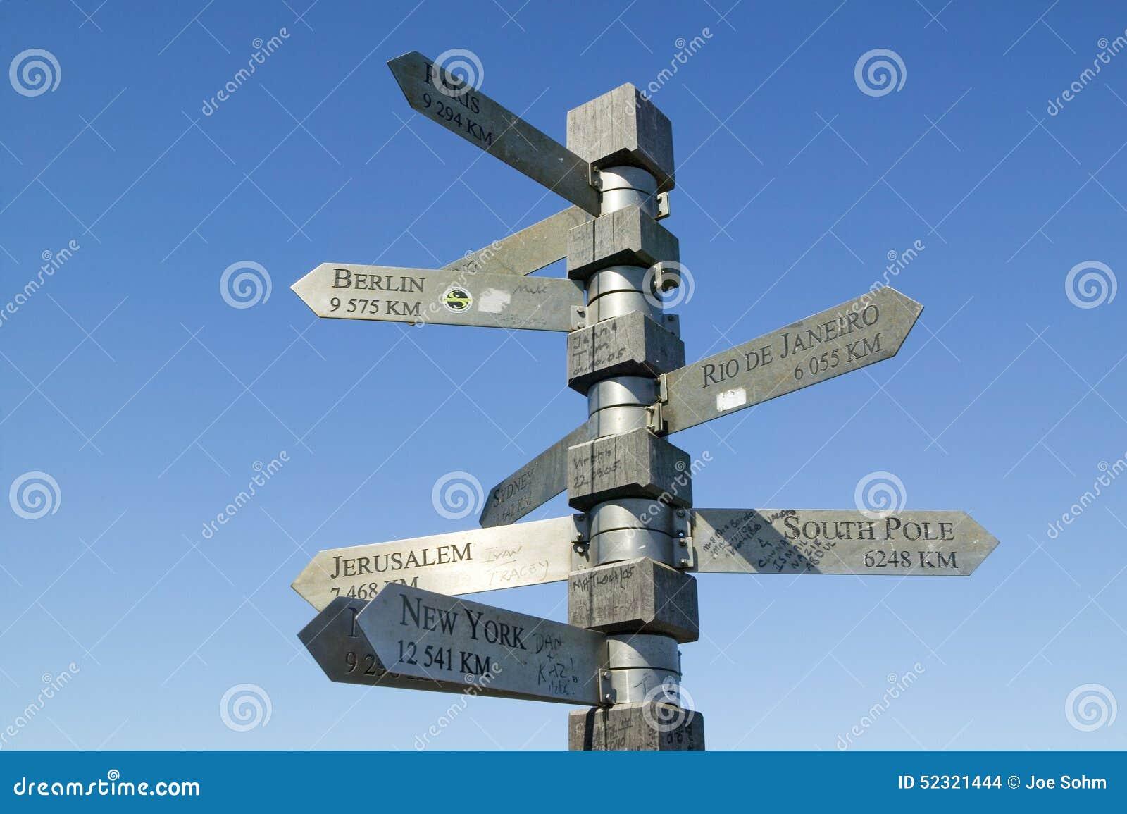 Zeichen Zeigen Mit Kilometersummen Nach Berlin Jerusalem New York