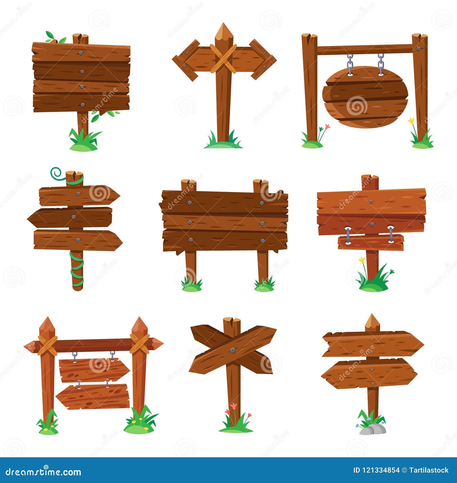 Zeichenbretter im grünen Gras Hölzerne PlankenVerkehrsschilder, hölzernes Schild oder lokalisierter Wegweiserbrettkarikaturvektor