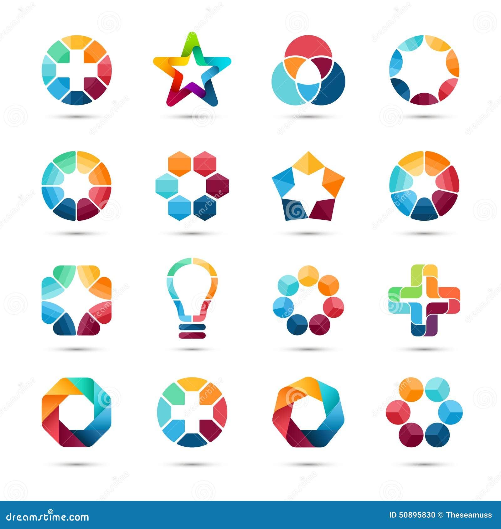 Zeichenschablonen eingestellt Kreative Zeichen des abstrakten Kreises