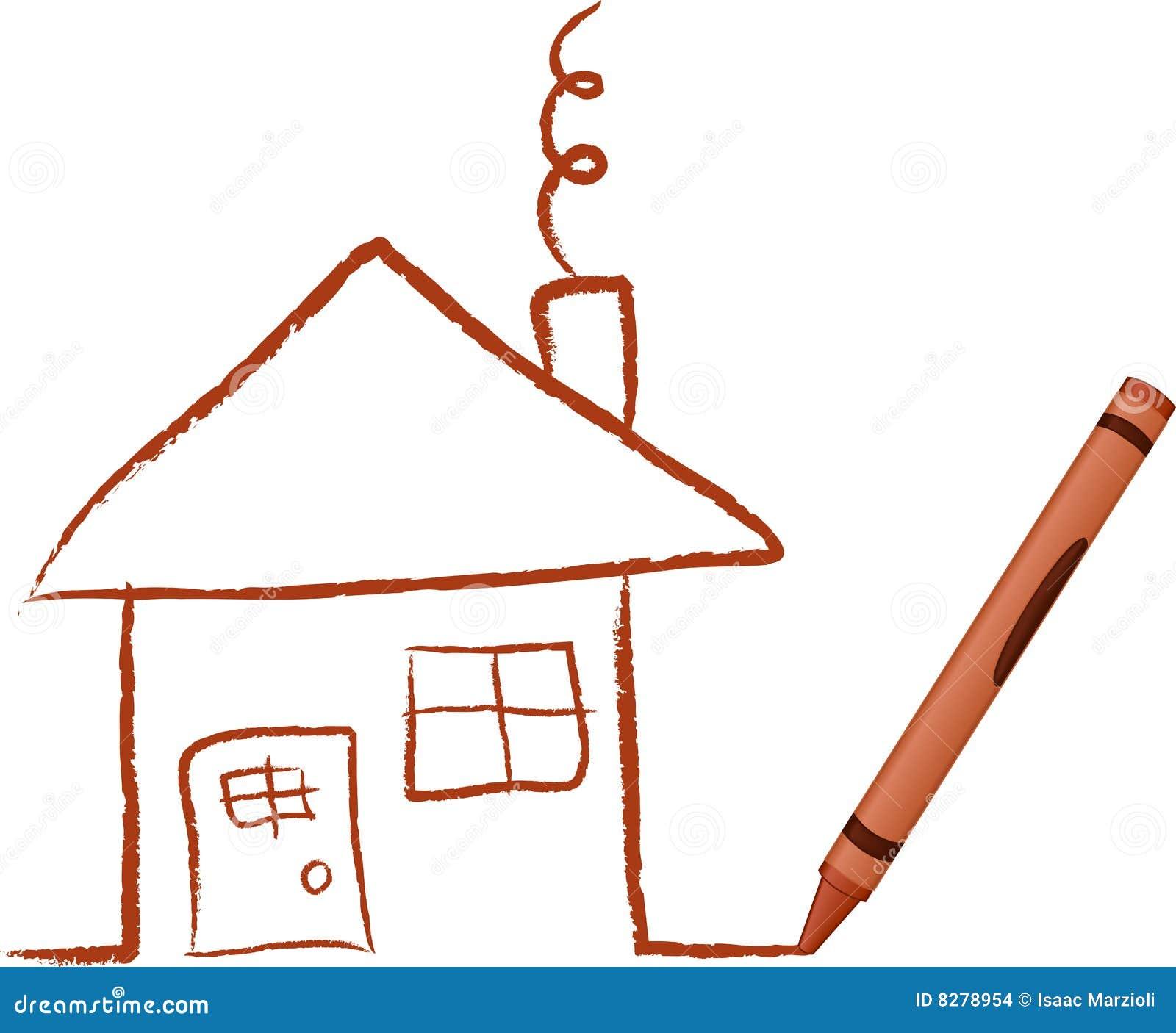 Haus Bild: Zeichenstift Gezeichnetes Haus Stockbilder