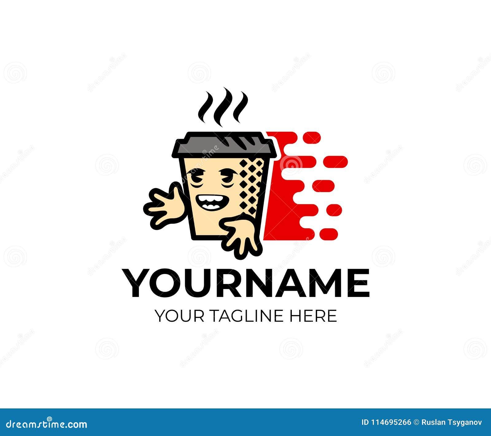 Zeichentrickfilm-Figur-Kaffee, Tee in einer Papierschale und schnelle Lieferung, Logoschablone Kaffeestube, Cafeteria und Lieferu