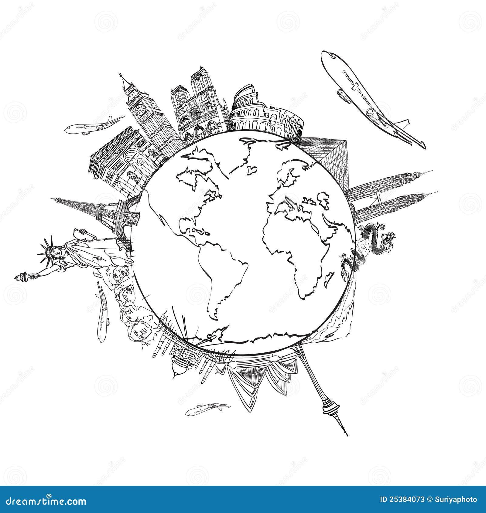 Zeichnen Der Traumreise Um Die Welt Stockbild - Bild von diagramm ...