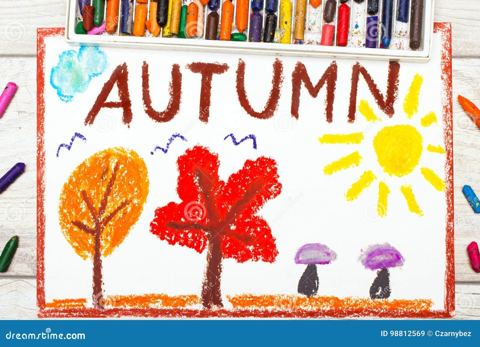 Zeichnen Fassen Sie Herbst Baume Mit Den Orange Und Roten Blattern