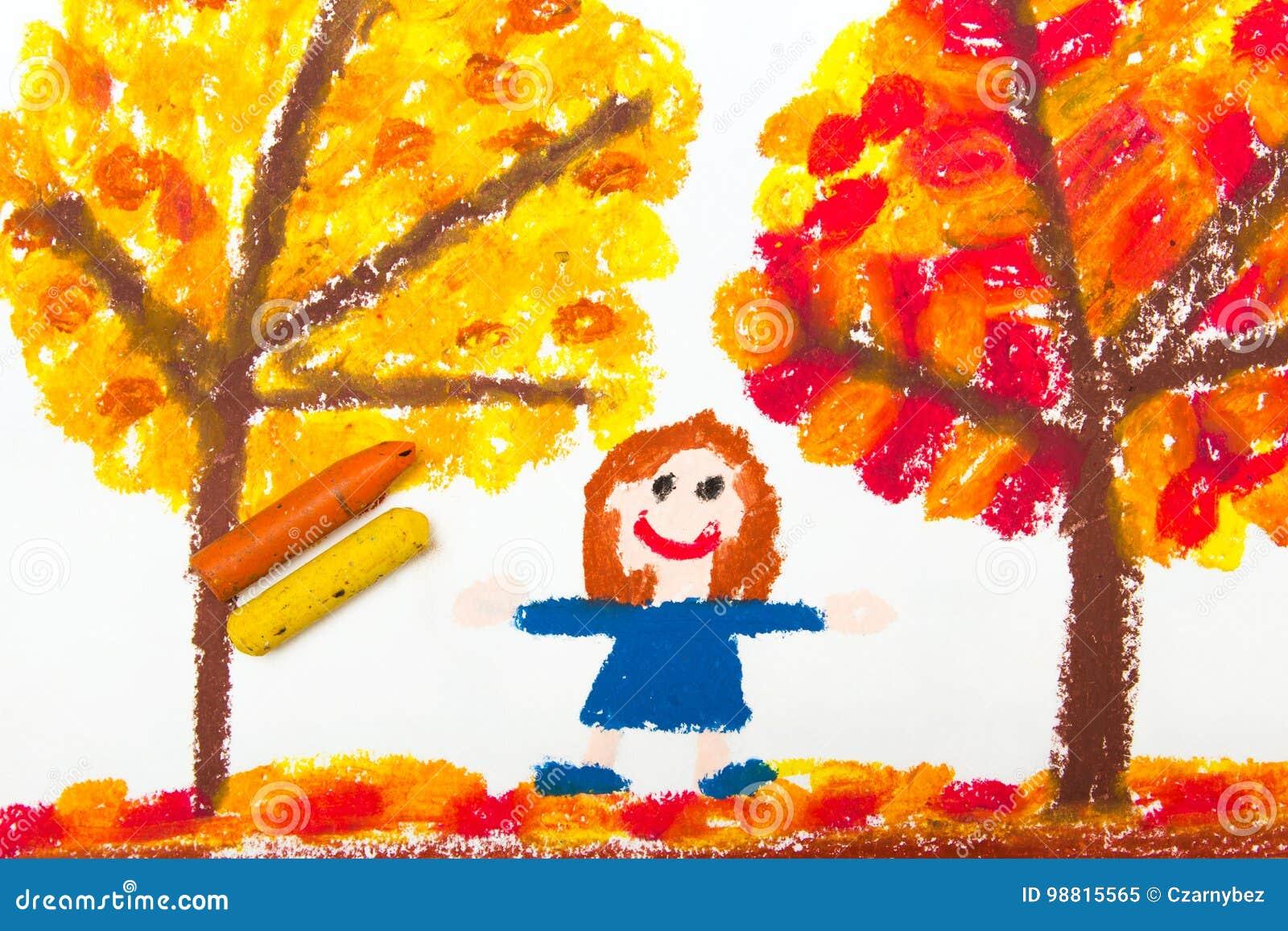 Zeichnen Herbstbaume Mit Den Gelben Und Rotblattern Und Glucklichem