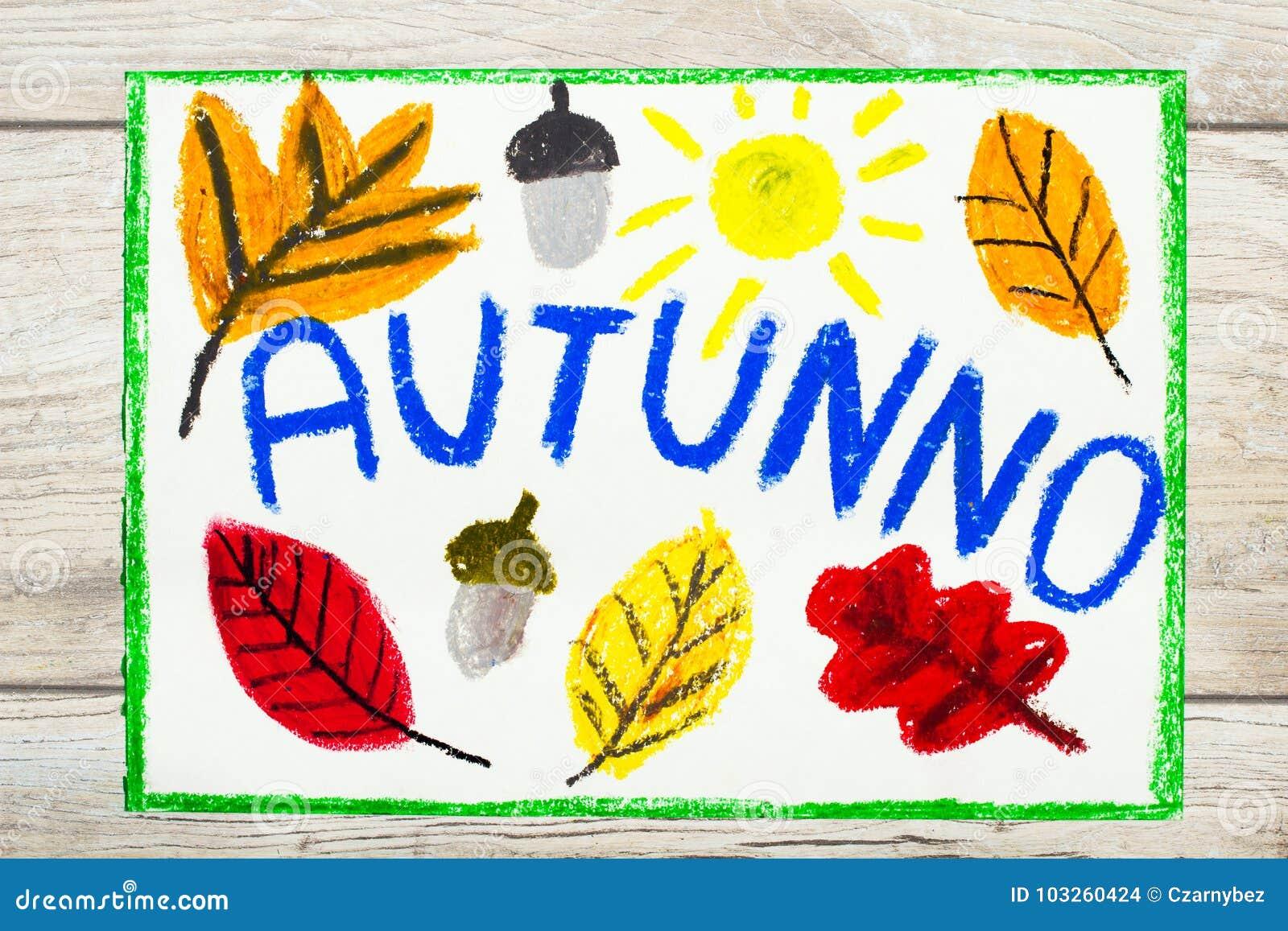 Zeichnen Italienischer Wort Herbst Orangenblatter Und Eichel Stock