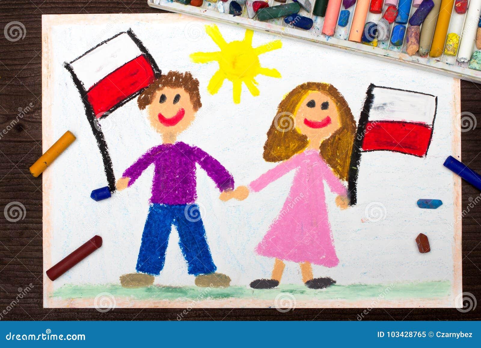 Zeichnen Lachelnde Kinder Junge Und Madchen Wellenartig Bewegende
