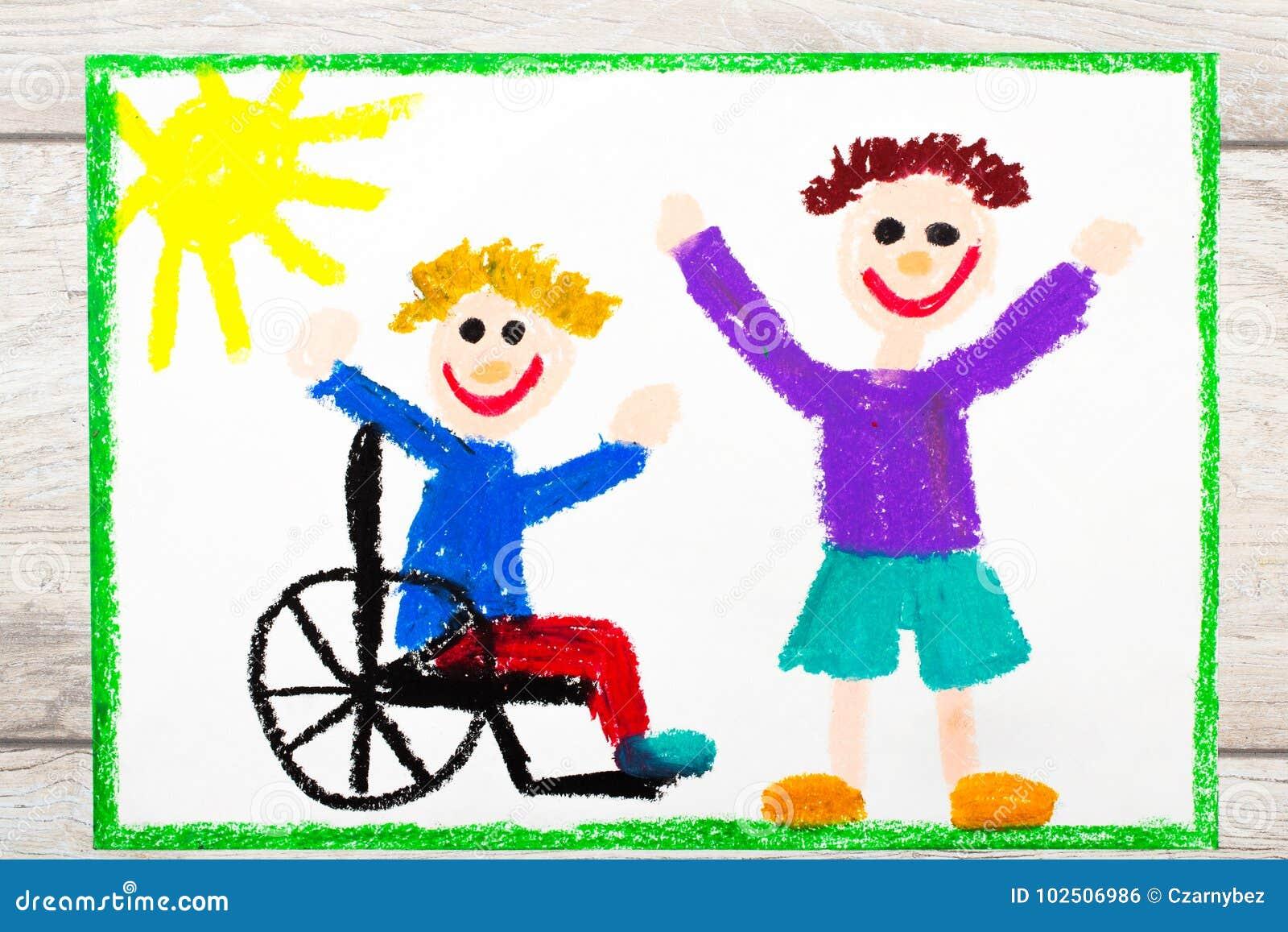 Zeichnen Lachelnder Junge Der Auf Seinem Rollstuhl Sitzt