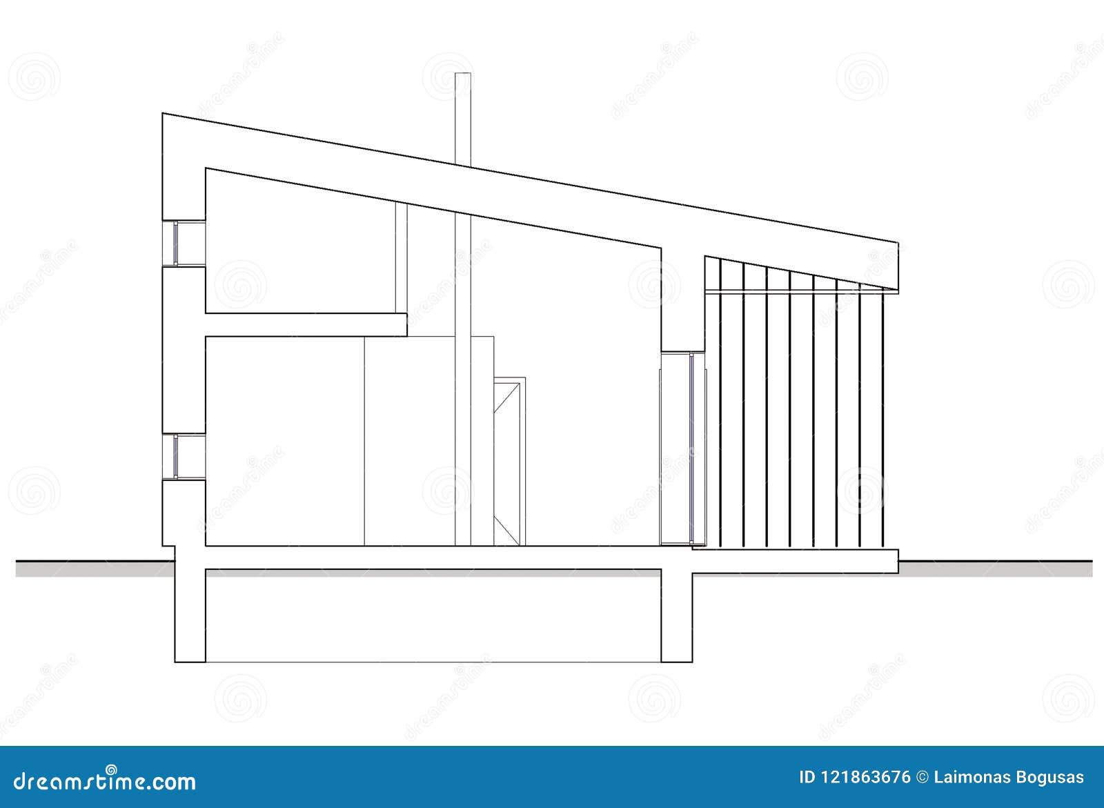 Zeichnen - Lokalisierter Abschnitt Des Bungalows Mit ...