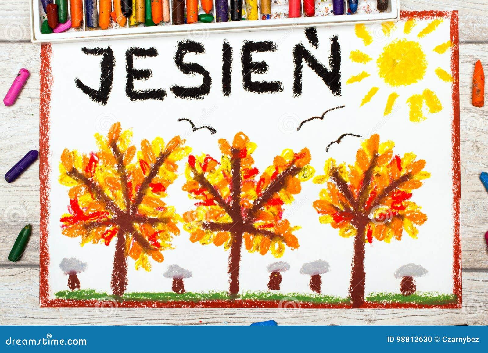 Zeichnen Polnisches Wort Herbst Und Baume Mit Den Roter Und Der